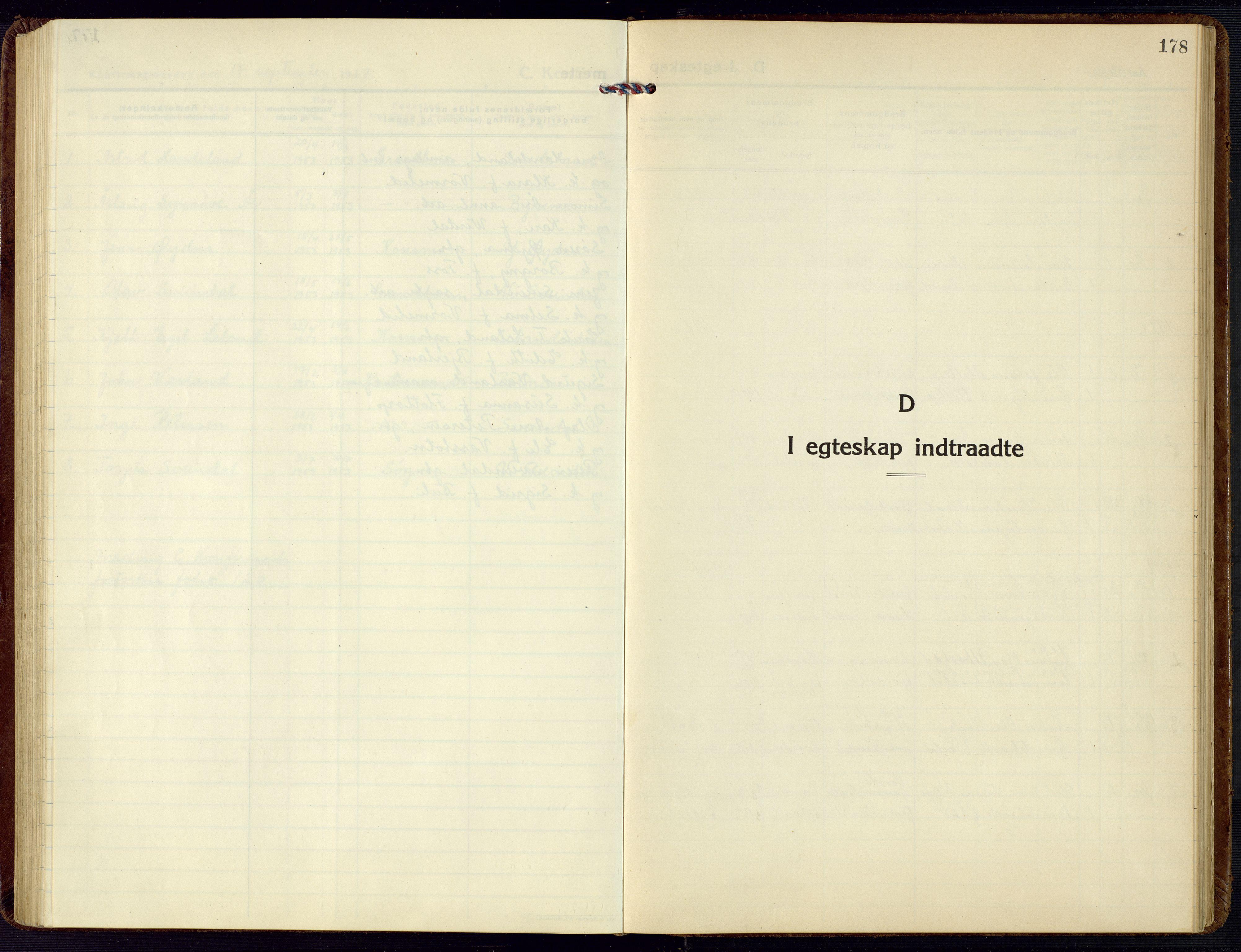 SAK, Bjelland sokneprestkontor, F/Fb/Fbc/L0004: Klokkerbok nr. B 4, 1921-1978, s. 178