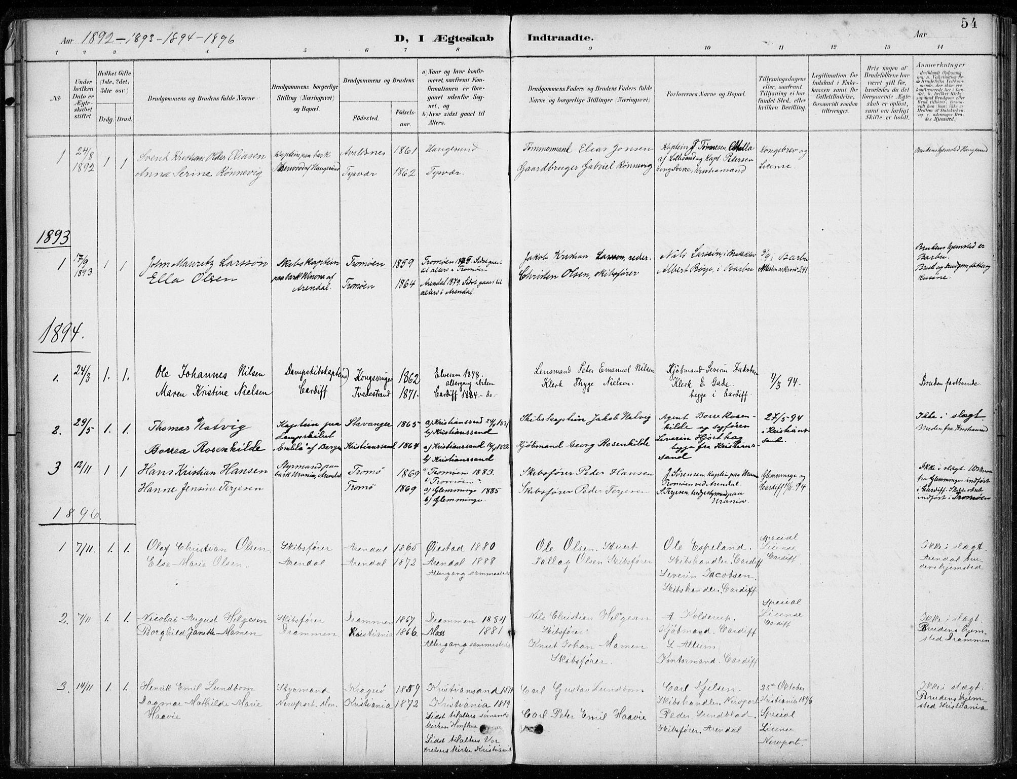 SAB, Den Norske Sjømannsmisjon i utlandet*, Ministerialbok nr. A 2, 1887-1932, s. 54