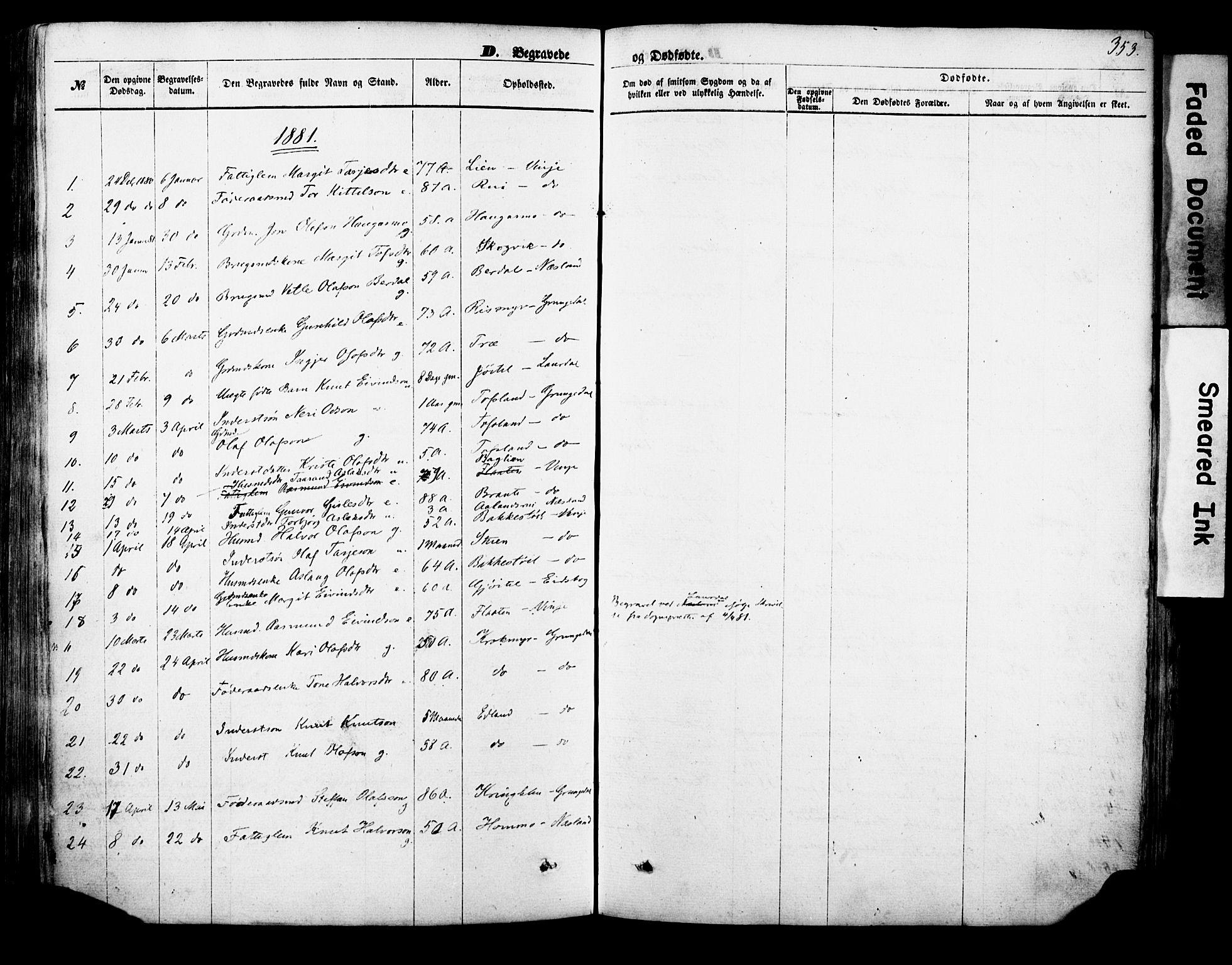 SAKO, Vinje kirkebøker, F/Fa/L0005: Ministerialbok nr. I 5, 1870-1886, s. 353