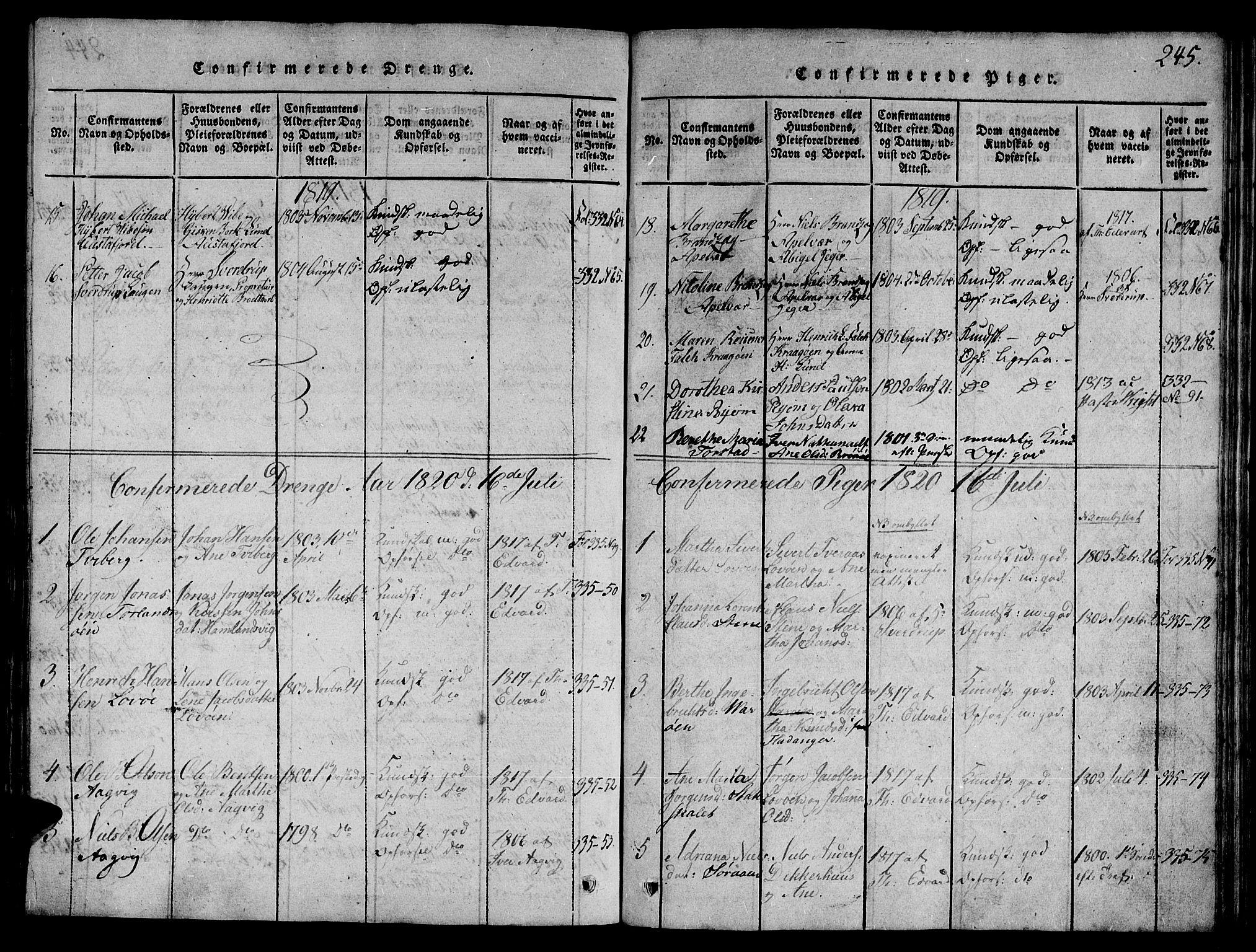 SAT, Ministerialprotokoller, klokkerbøker og fødselsregistre - Nord-Trøndelag, 784/L0667: Ministerialbok nr. 784A03 /1, 1816-1829, s. 245