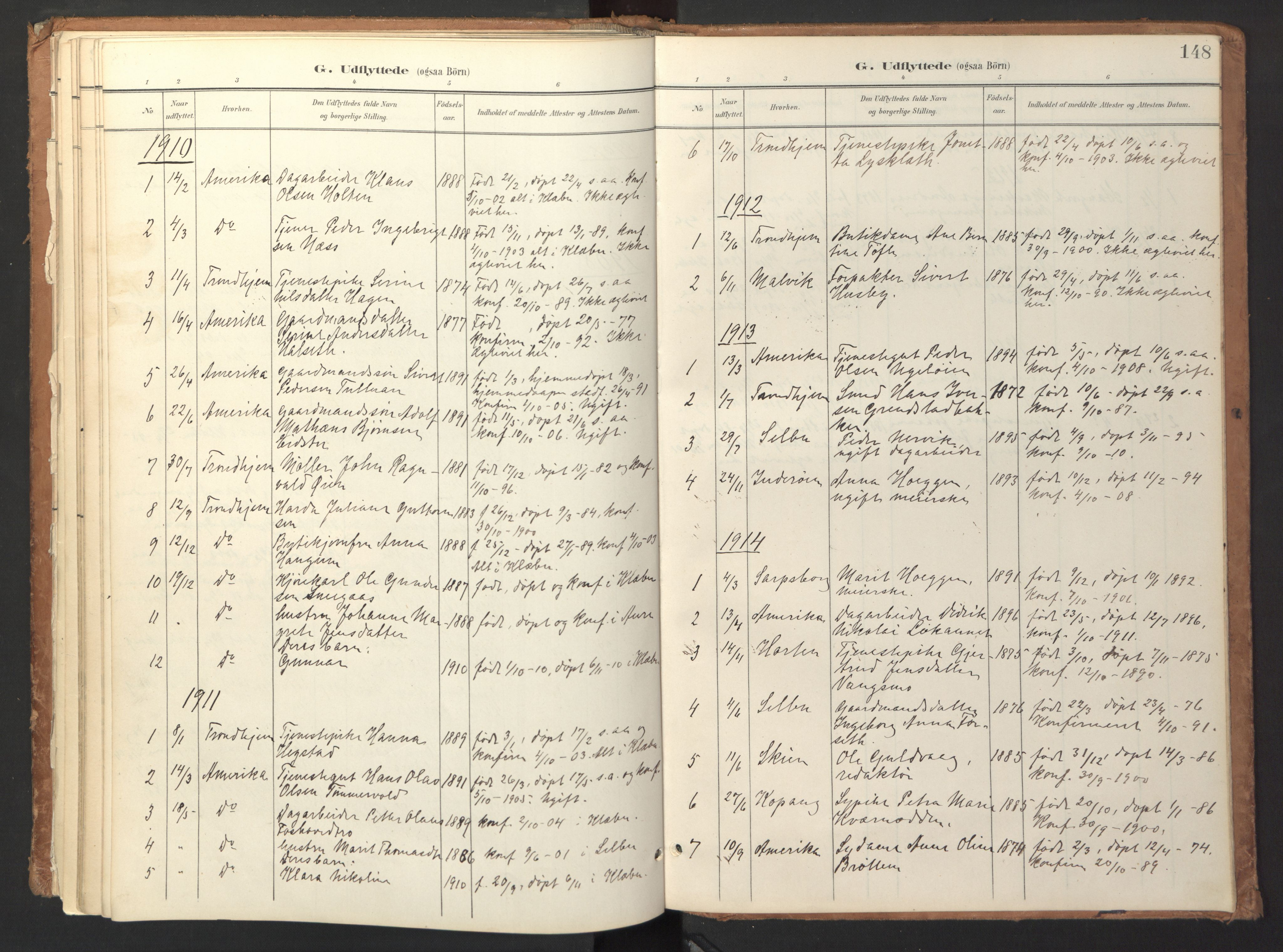 SAT, Ministerialprotokoller, klokkerbøker og fødselsregistre - Sør-Trøndelag, 618/L0448: Ministerialbok nr. 618A11, 1898-1916, s. 148