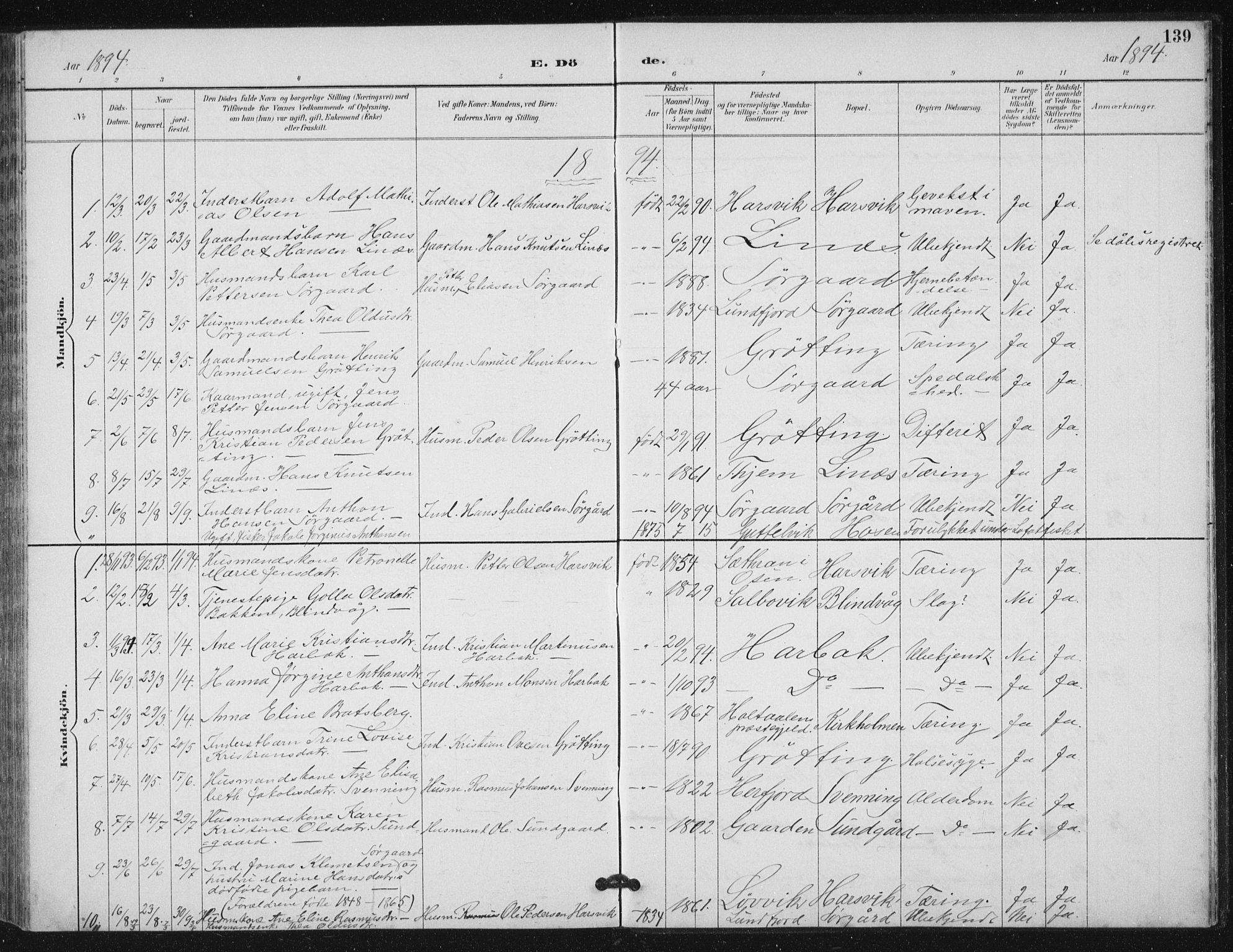 SAT, Ministerialprotokoller, klokkerbøker og fødselsregistre - Sør-Trøndelag, 656/L0698: Klokkerbok nr. 656C04, 1890-1904, s. 139