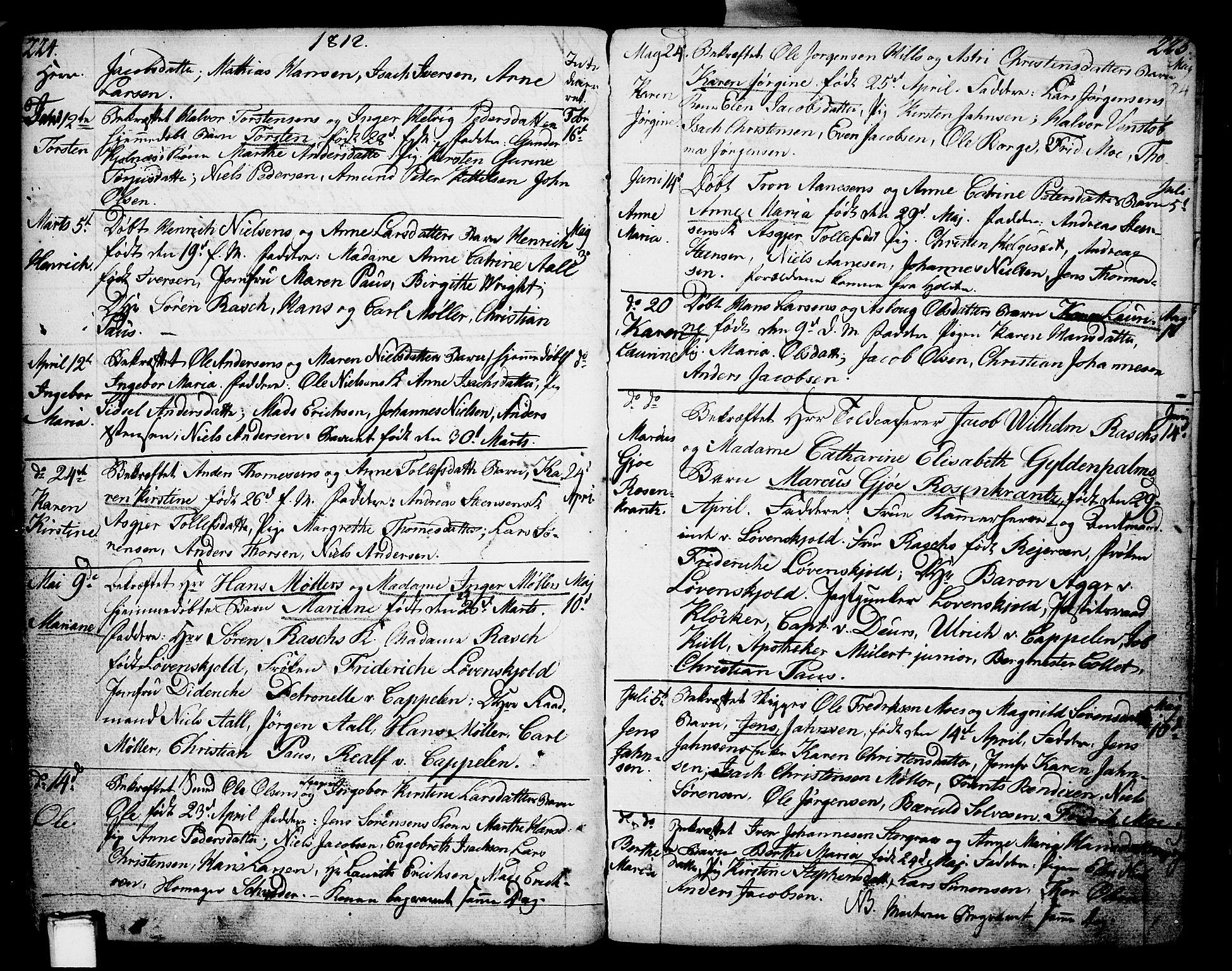 SAKO, Porsgrunn kirkebøker , F/Fa/L0002: Ministerialbok nr. 2, 1764-1814, s. 224-225