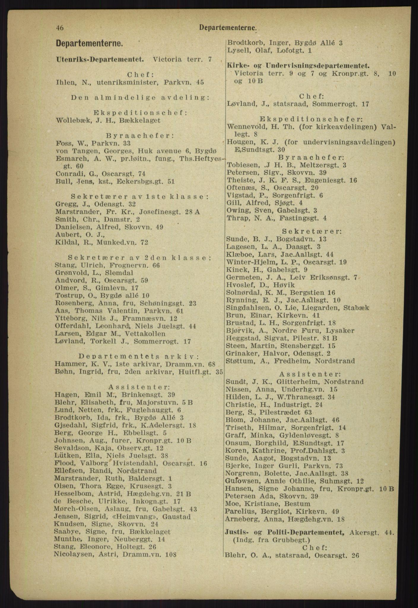 RA, Kristiania adressebok (publikasjon)*, 1918, s. 46