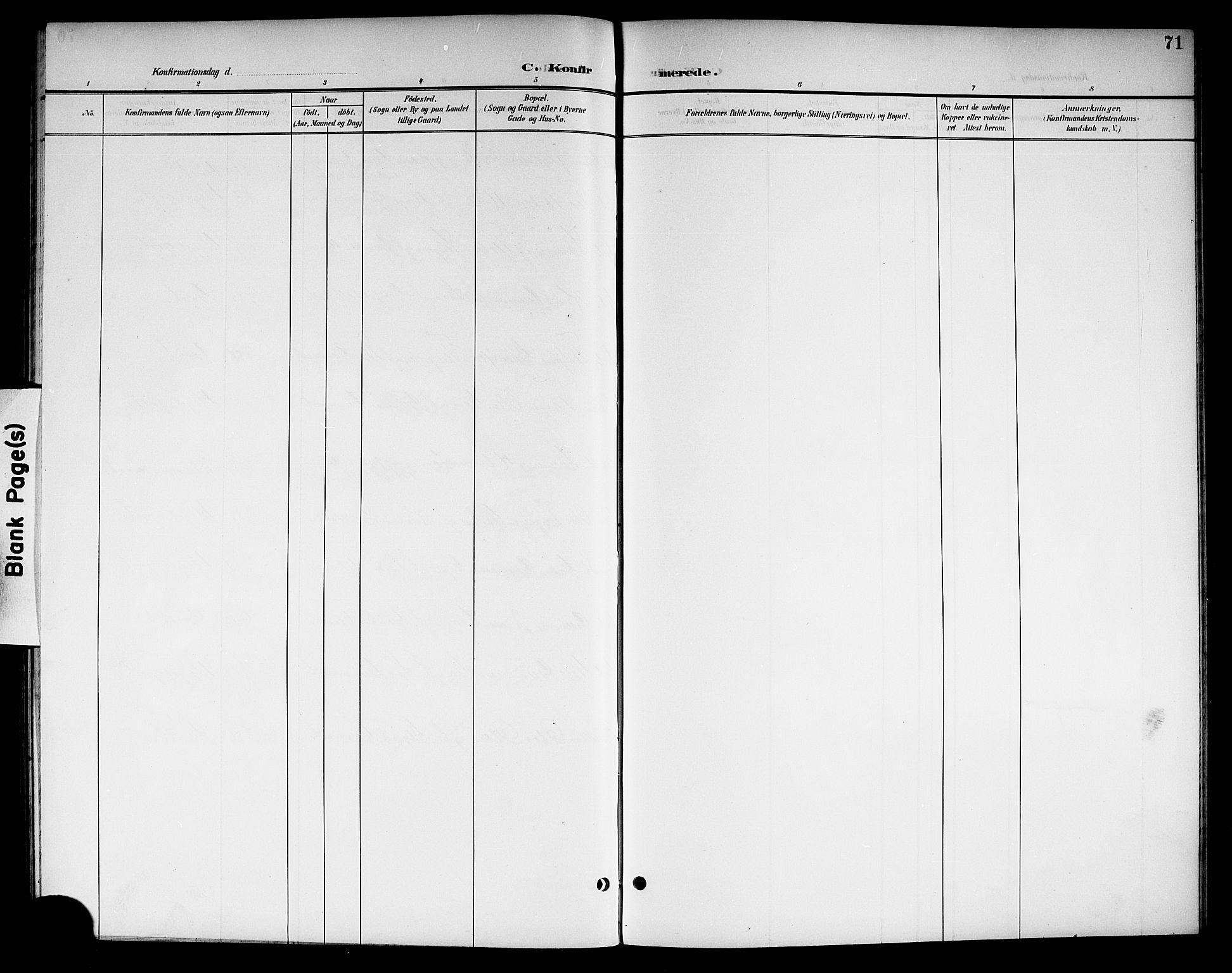 SAKO, Kviteseid kirkebøker, G/Gc/L0001: Klokkerbok nr. III 1, 1893-1916, s. 71