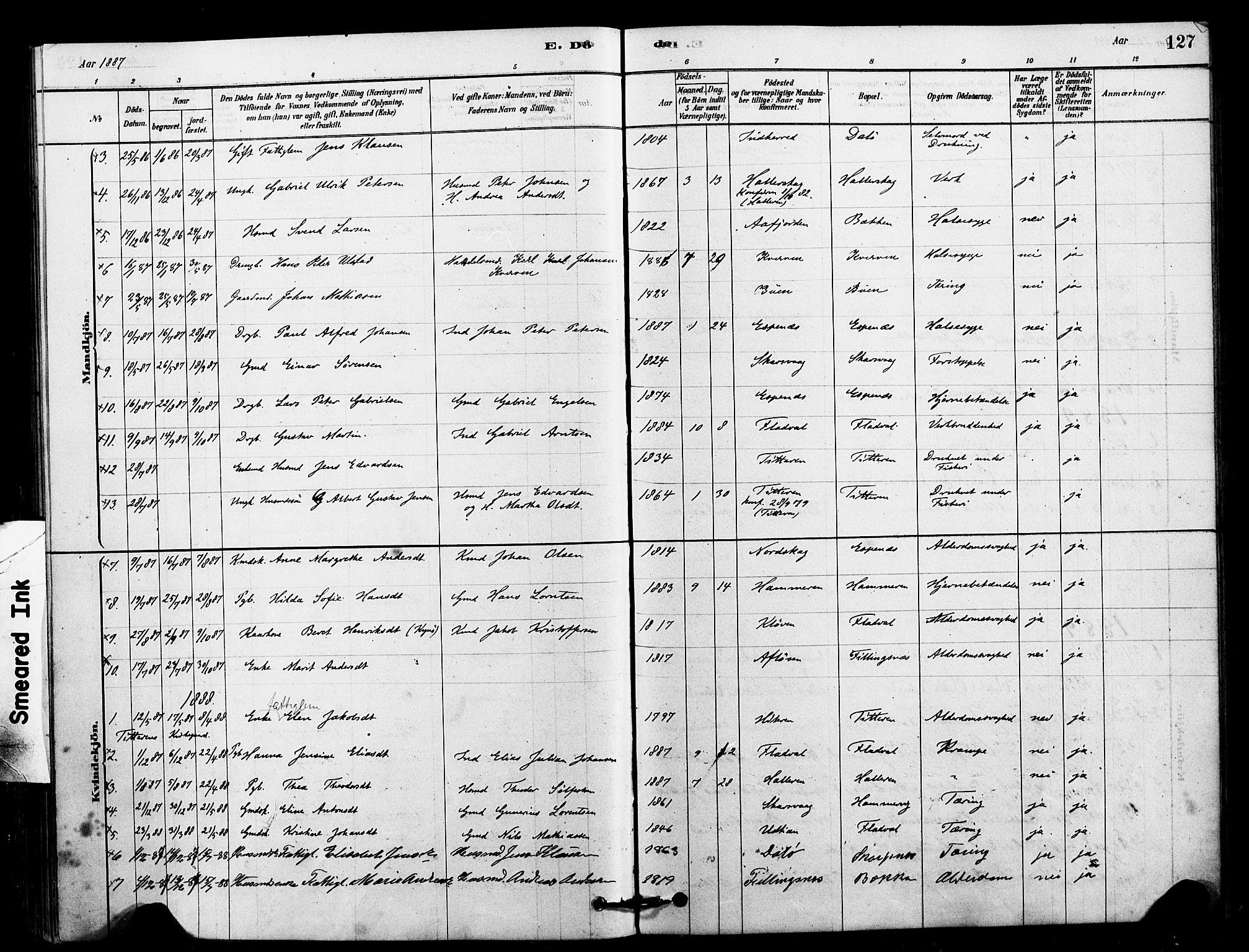 SAT, Ministerialprotokoller, klokkerbøker og fødselsregistre - Sør-Trøndelag, 641/L0595: Ministerialbok nr. 641A01, 1882-1897, s. 127