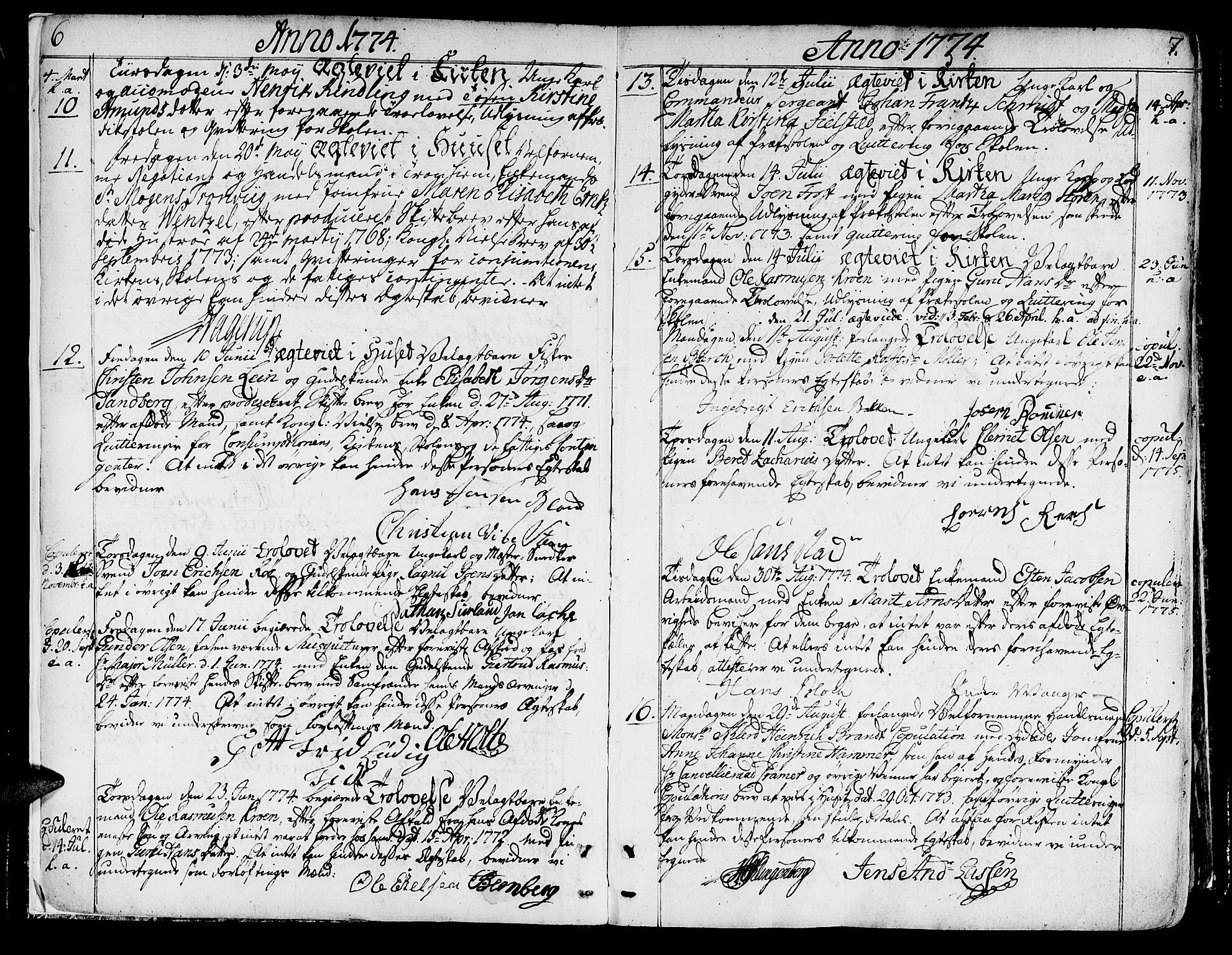SAT, Ministerialprotokoller, klokkerbøker og fødselsregistre - Sør-Trøndelag, 602/L0105: Ministerialbok nr. 602A03, 1774-1814, s. 6-7