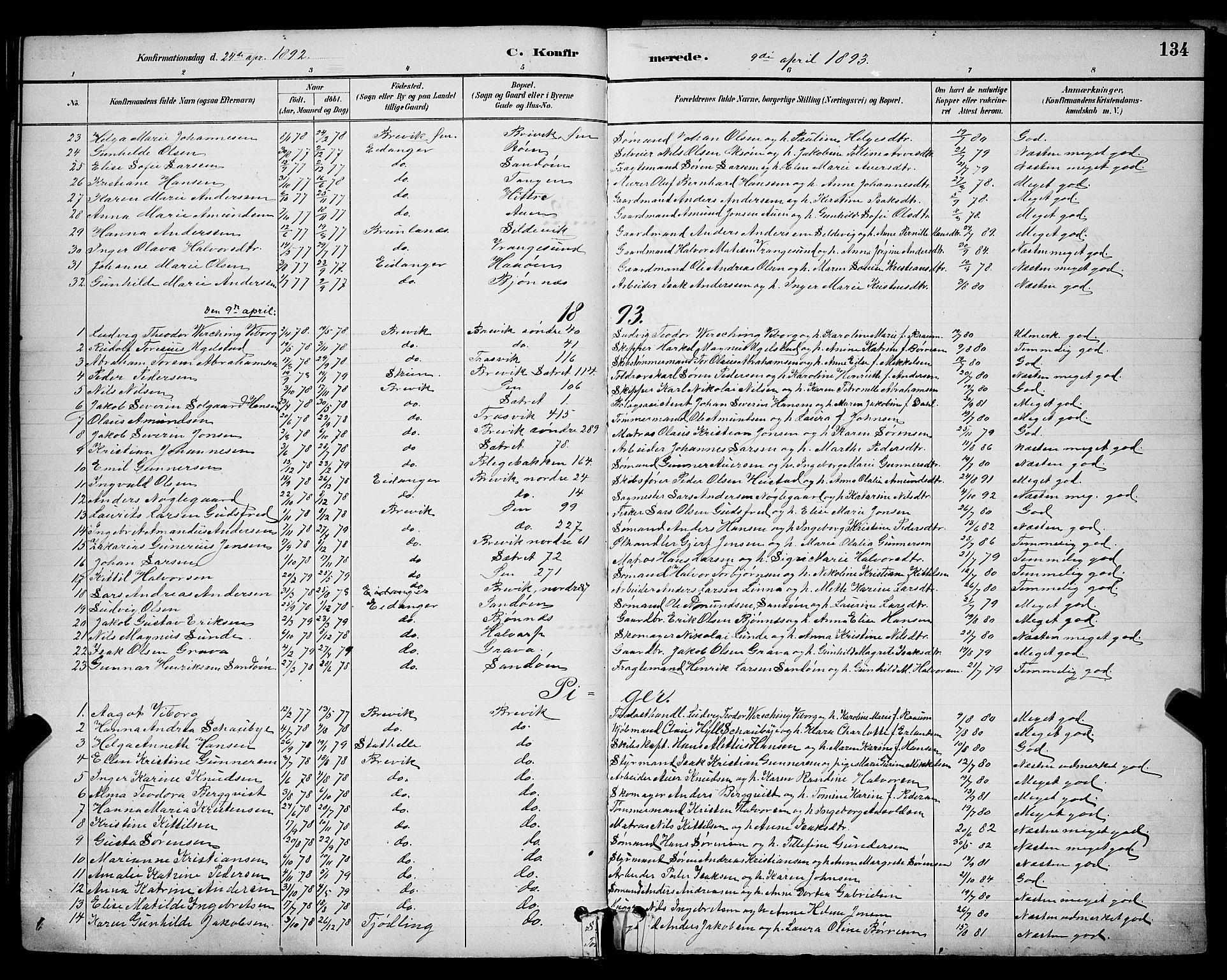 SAKO, Brevik kirkebøker, G/Ga/L0004: Klokkerbok nr. 4, 1882-1900, s. 134