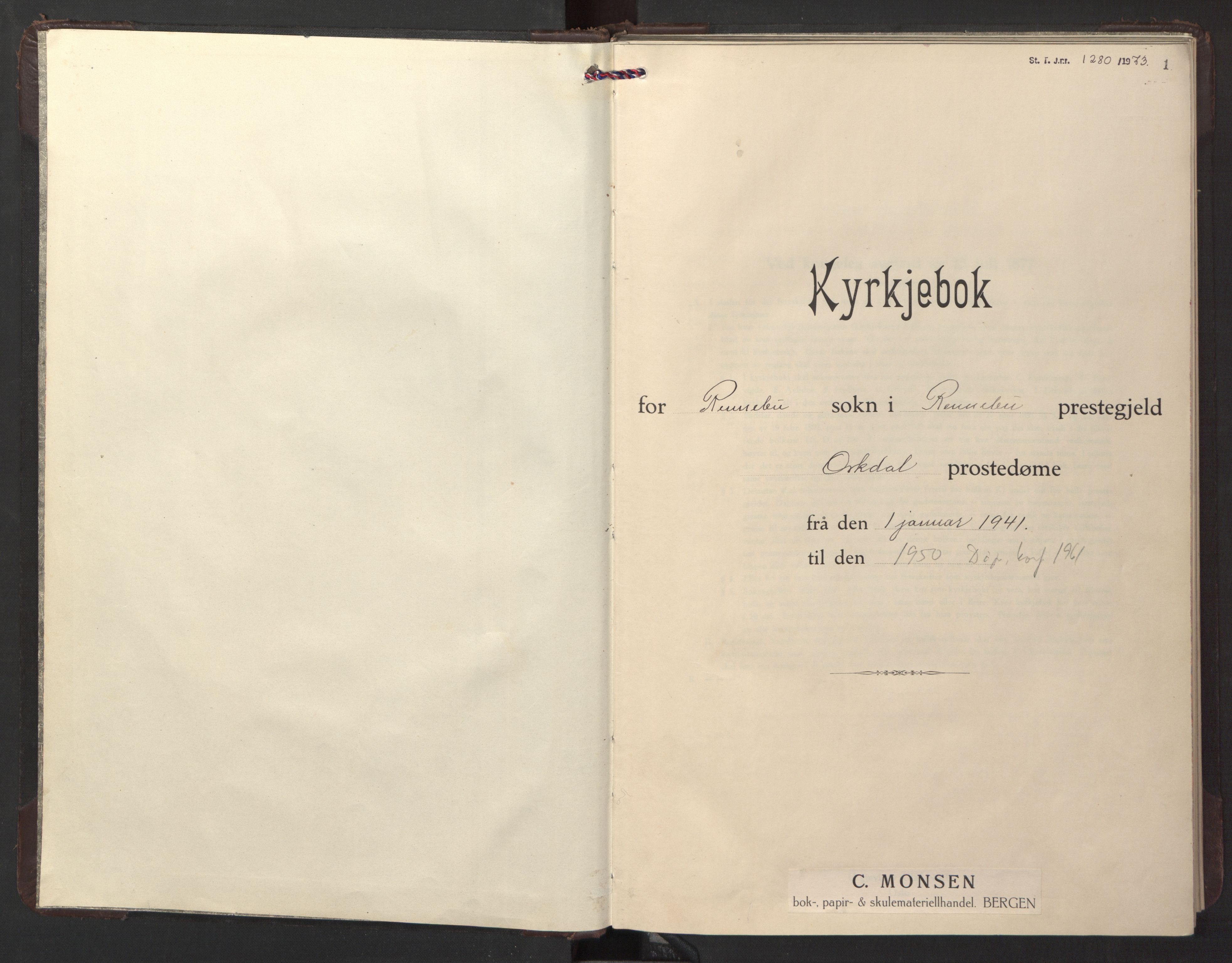 SAT, Ministerialprotokoller, klokkerbøker og fødselsregistre - Sør-Trøndelag, 674/L0878: Klokkerbok nr. 674C05, 1941-1950, s. 1