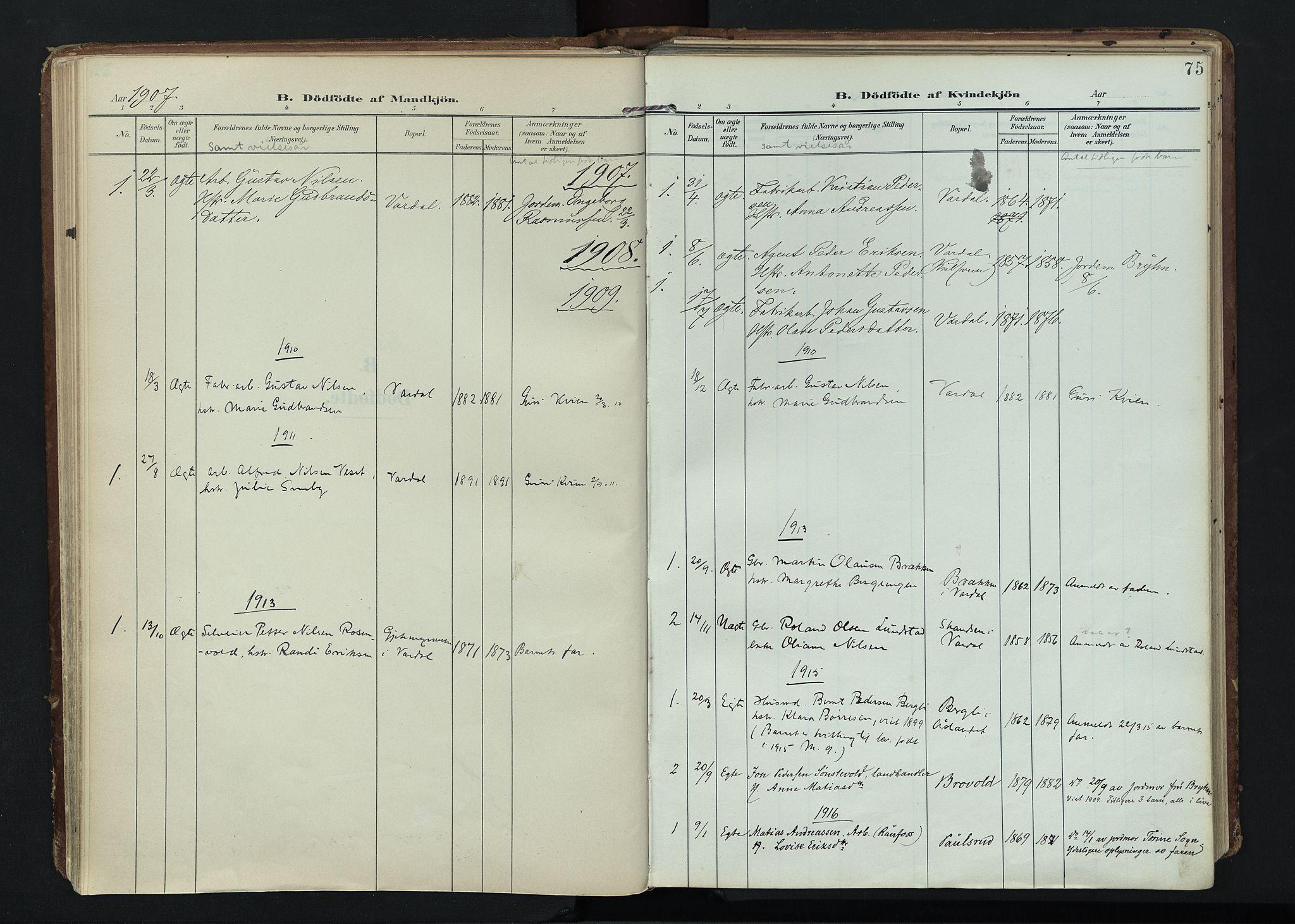 SAH, Vardal prestekontor, H/Ha/Haa/L0020: Ministerialbok nr. 20, 1907-1921, s. 75