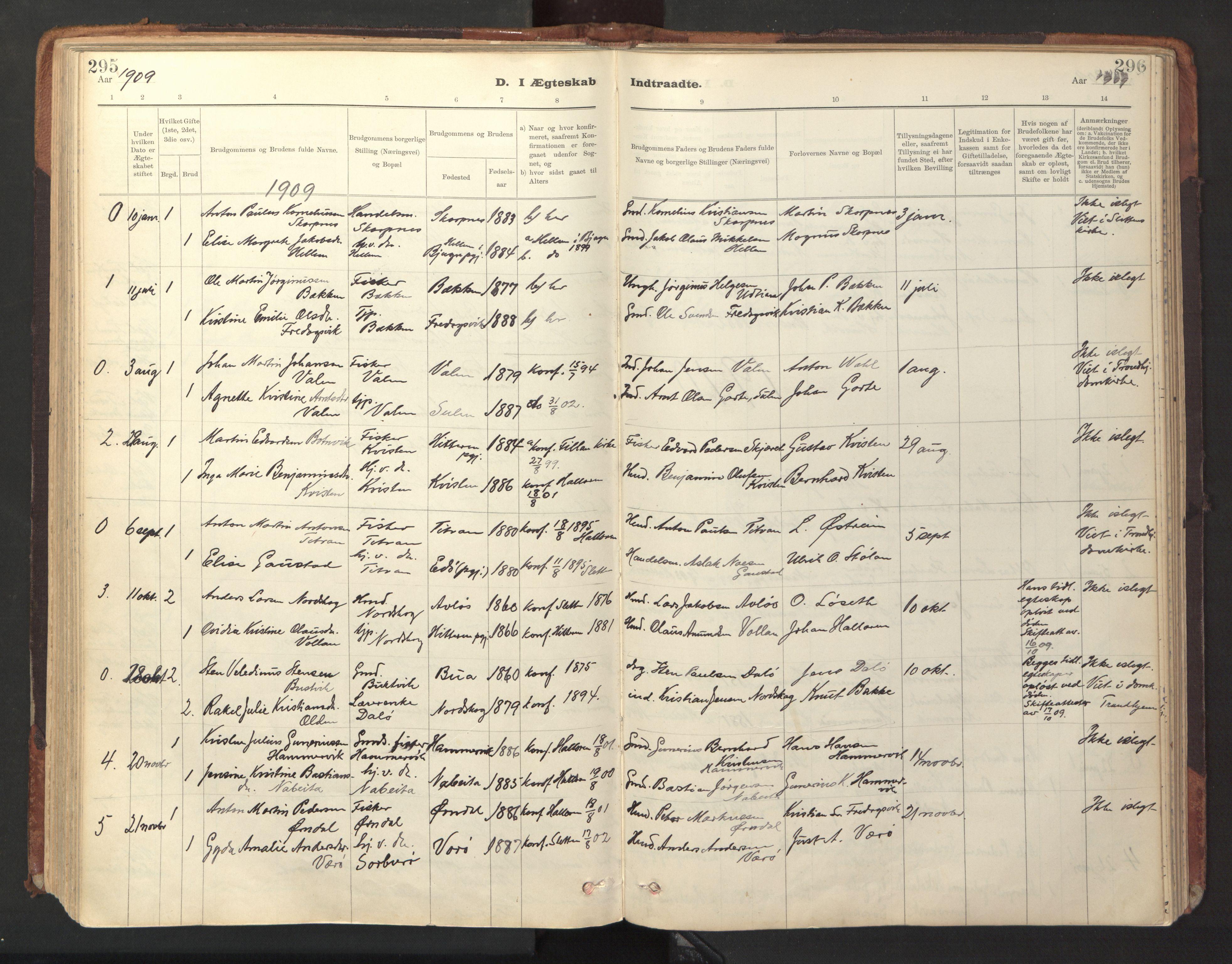 SAT, Ministerialprotokoller, klokkerbøker og fødselsregistre - Sør-Trøndelag, 641/L0596: Ministerialbok nr. 641A02, 1898-1915, s. 295-296