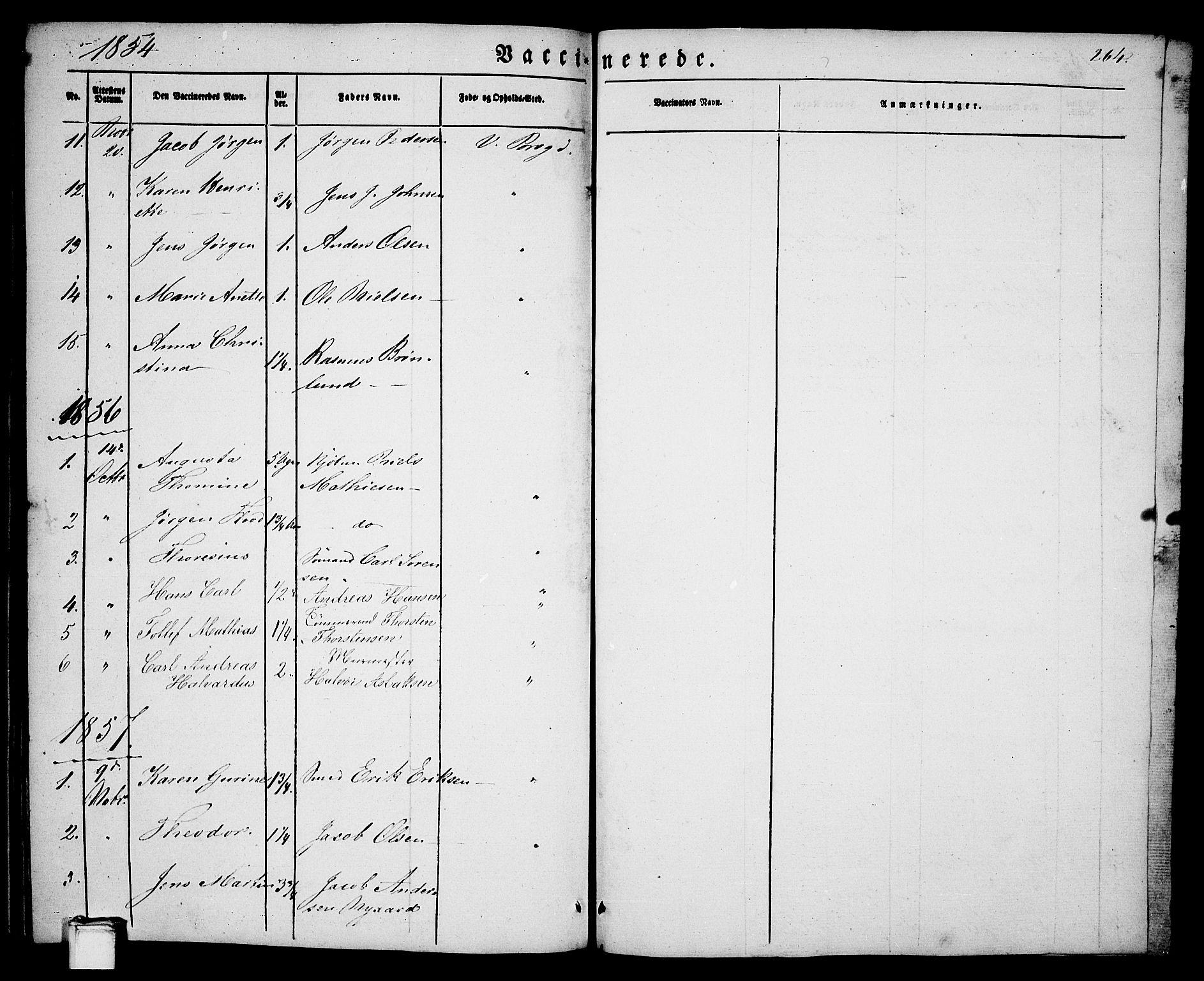 SAKO, Porsgrunn kirkebøker , G/Ga/L0002: Klokkerbok nr. I 2, 1847-1877, s. 264