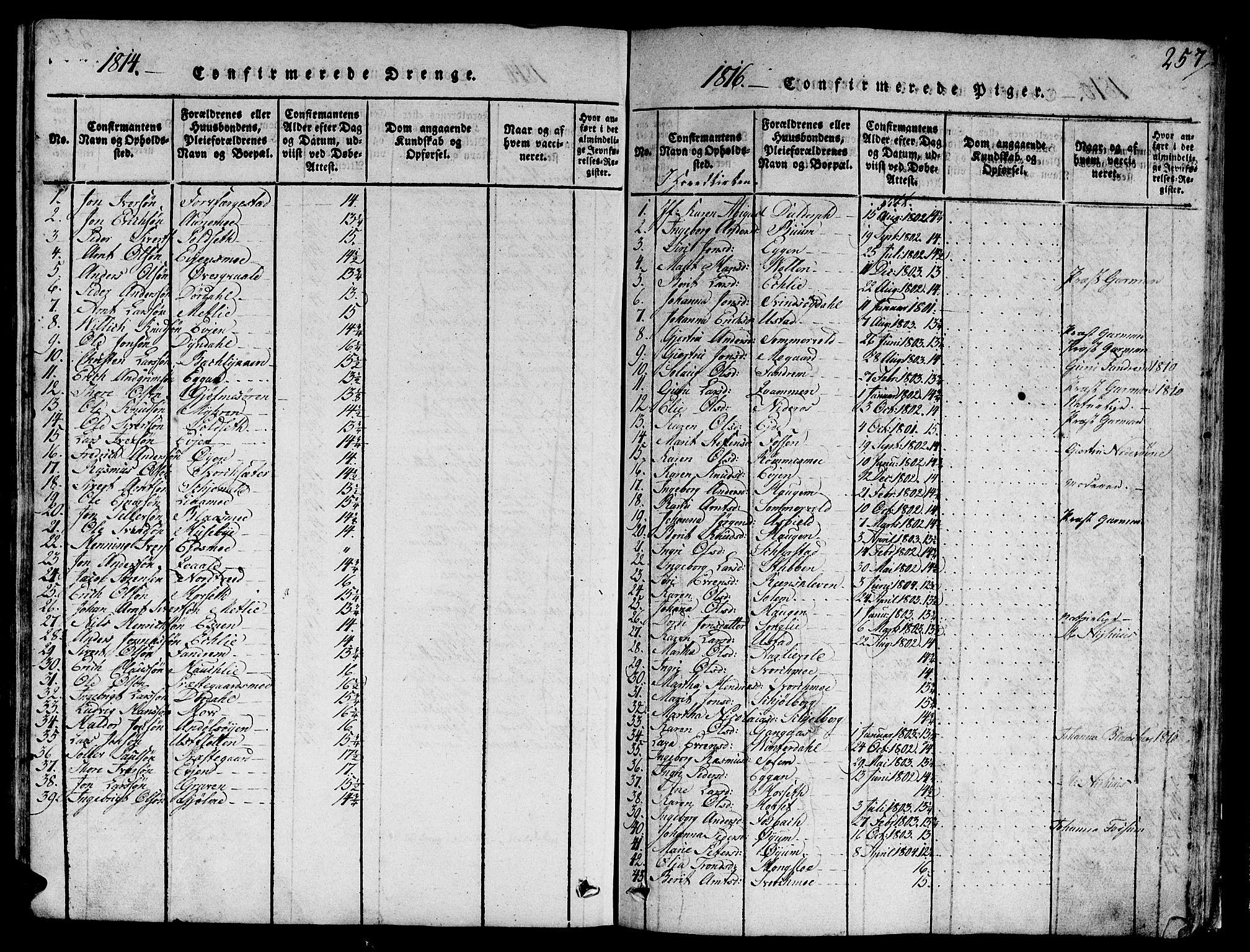 SAT, Ministerialprotokoller, klokkerbøker og fødselsregistre - Sør-Trøndelag, 668/L0803: Ministerialbok nr. 668A03, 1800-1826, s. 257
