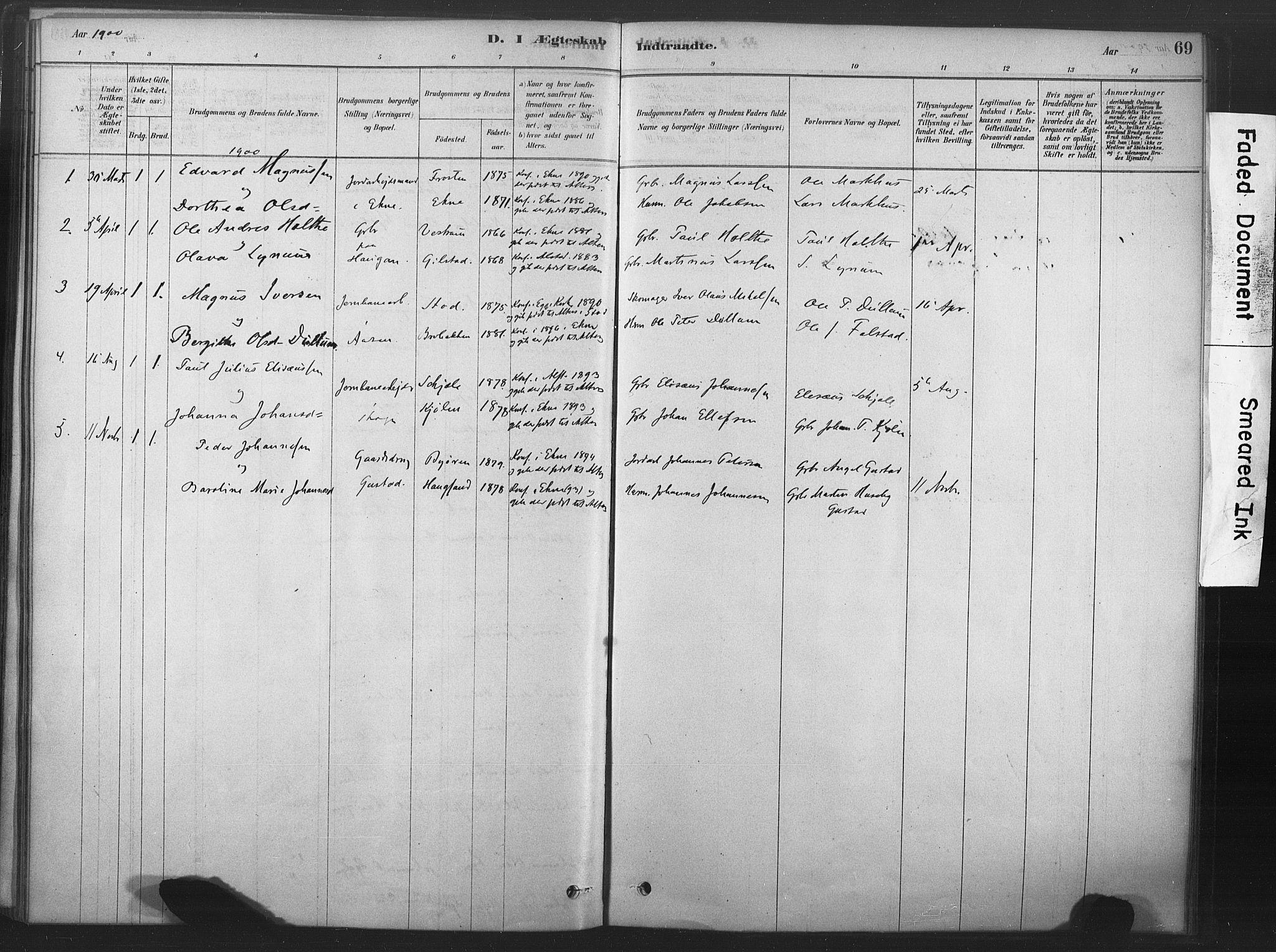 SAT, Ministerialprotokoller, klokkerbøker og fødselsregistre - Nord-Trøndelag, 719/L0178: Ministerialbok nr. 719A01, 1878-1900, s. 69