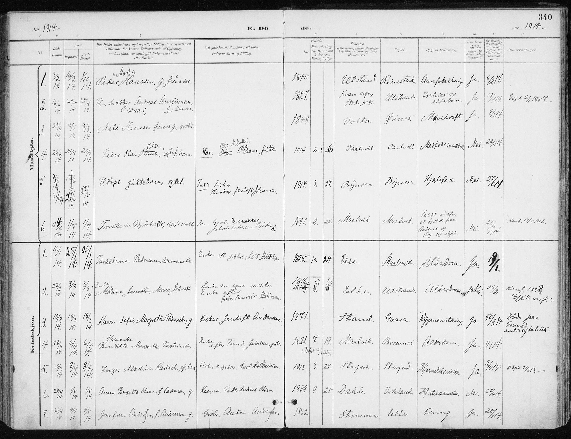 SATØ, Kvæfjord sokneprestkontor, G/Ga/Gaa/L0006kirke: Ministerialbok nr. 6, 1895-1914, s. 340