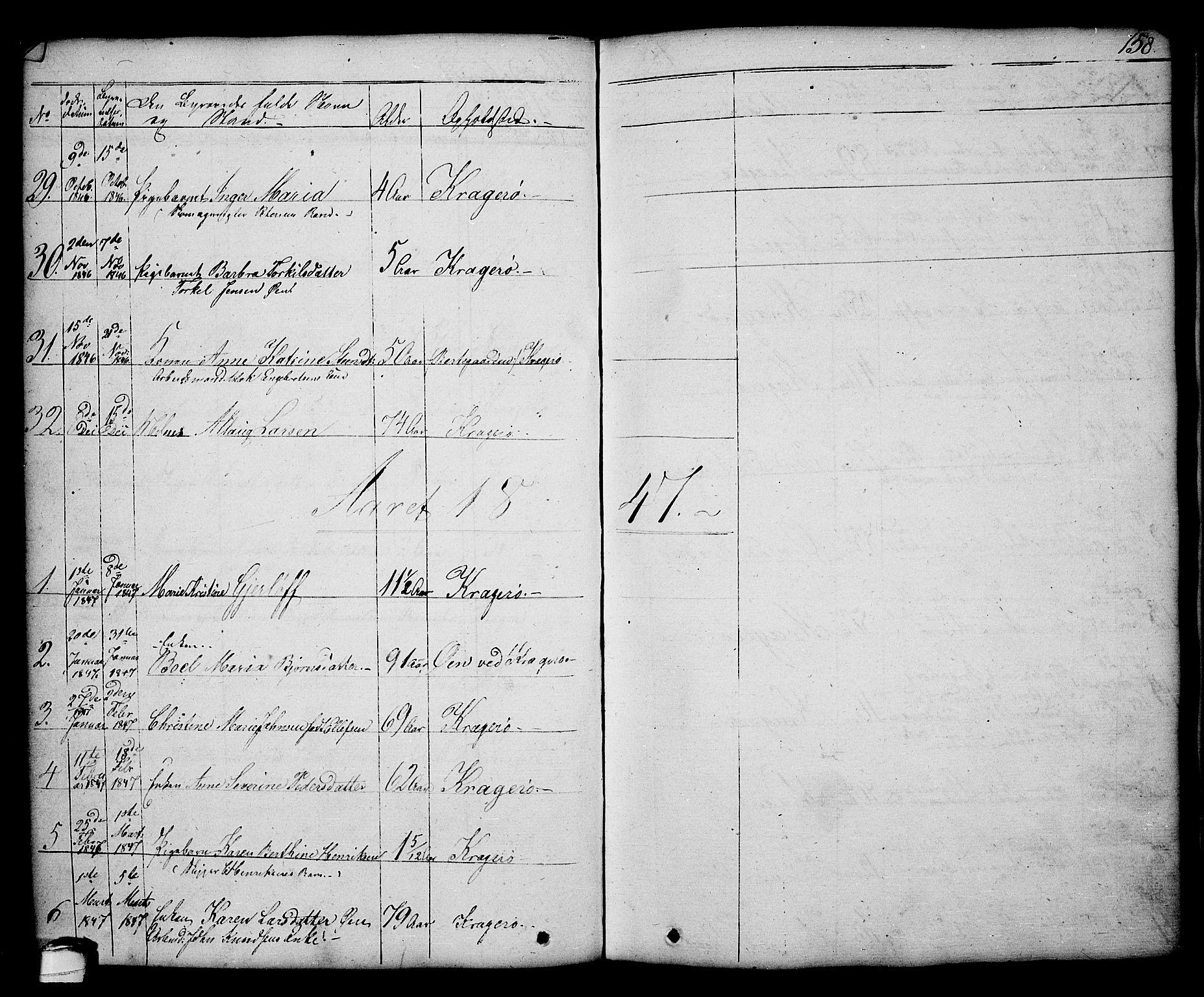 SAKO, Kragerø kirkebøker, G/Ga/L0003: Klokkerbok nr. 3, 1832-1852, s. 158