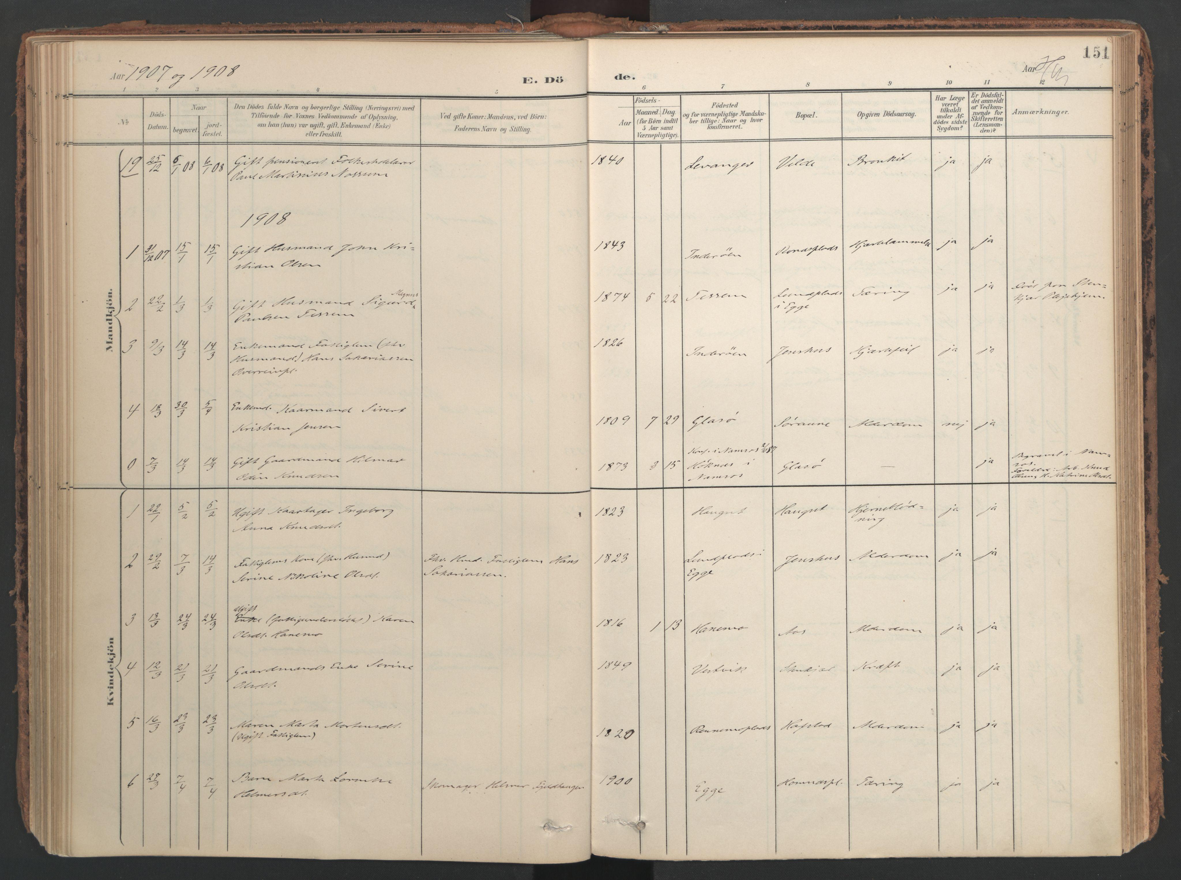SAT, Ministerialprotokoller, klokkerbøker og fødselsregistre - Nord-Trøndelag, 741/L0397: Ministerialbok nr. 741A11, 1901-1911, s. 151