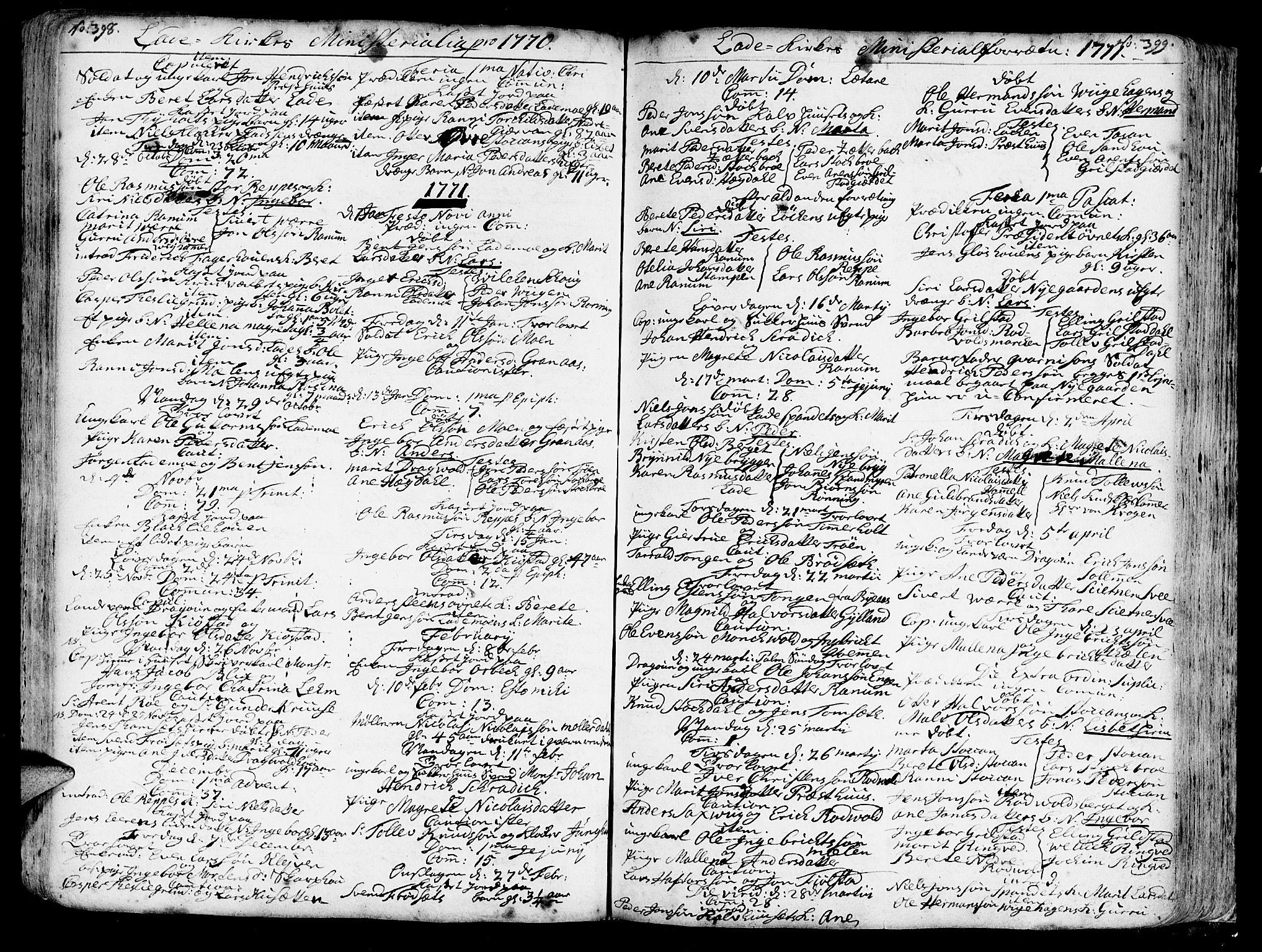 SAT, Ministerialprotokoller, klokkerbøker og fødselsregistre - Sør-Trøndelag, 606/L0275: Ministerialbok nr. 606A01 /1, 1727-1780, s. 398-399