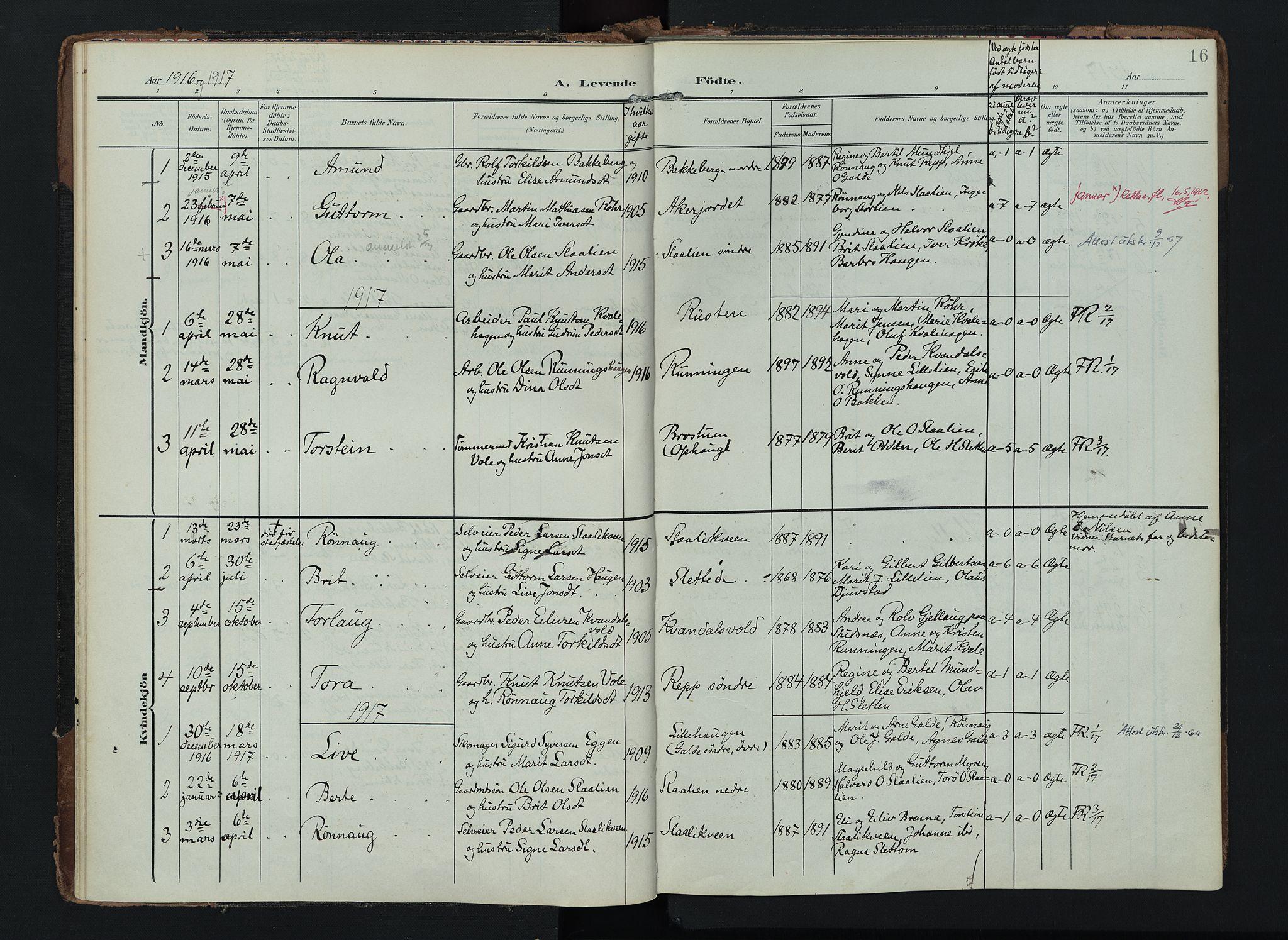 SAH, Lom prestekontor, K/L0012: Ministerialbok nr. 12, 1904-1928, s. 16