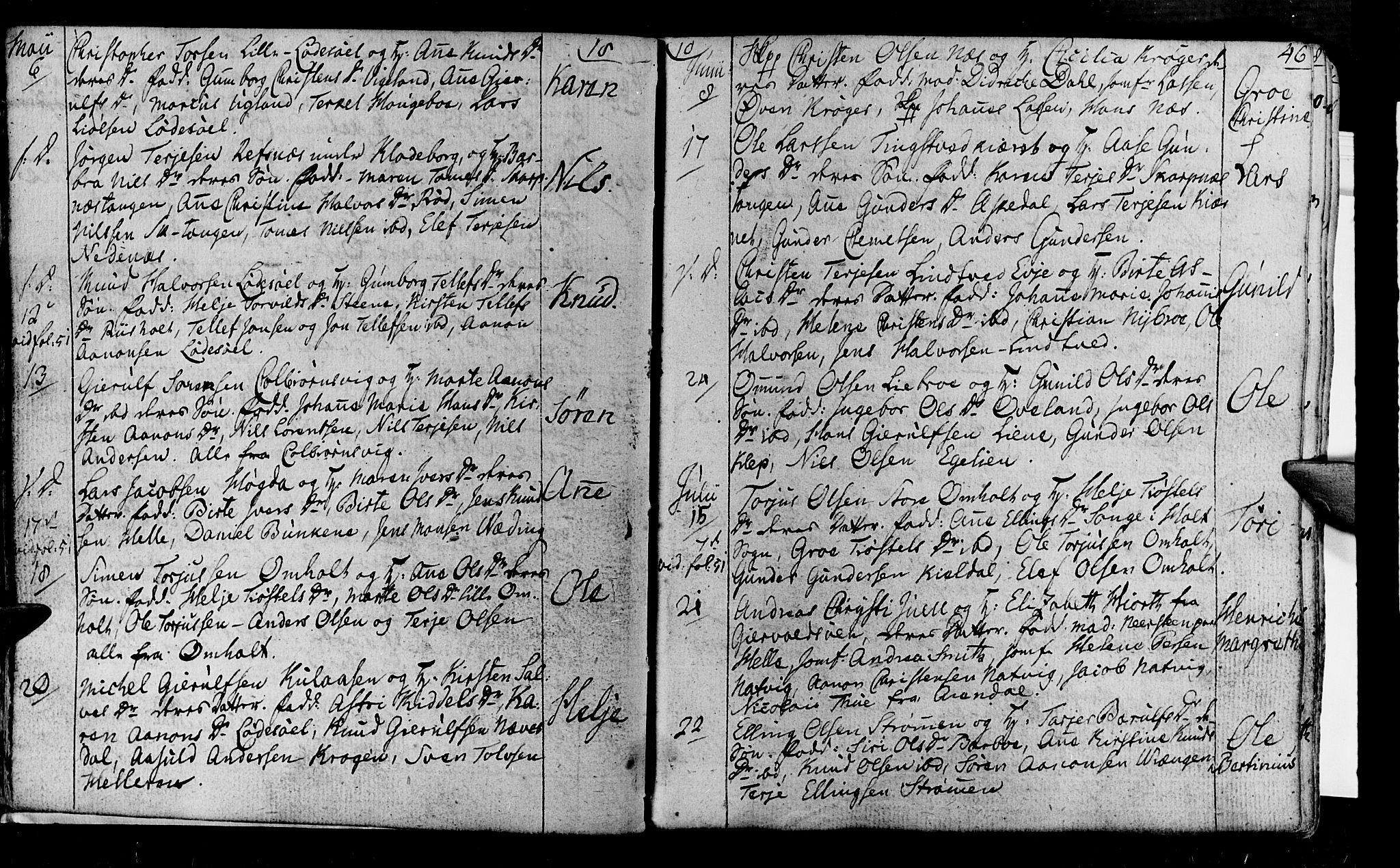 SAK, Øyestad sokneprestkontor, F/Fa/L0011: Ministerialbok nr. A 11, 1805-1824, s. 46