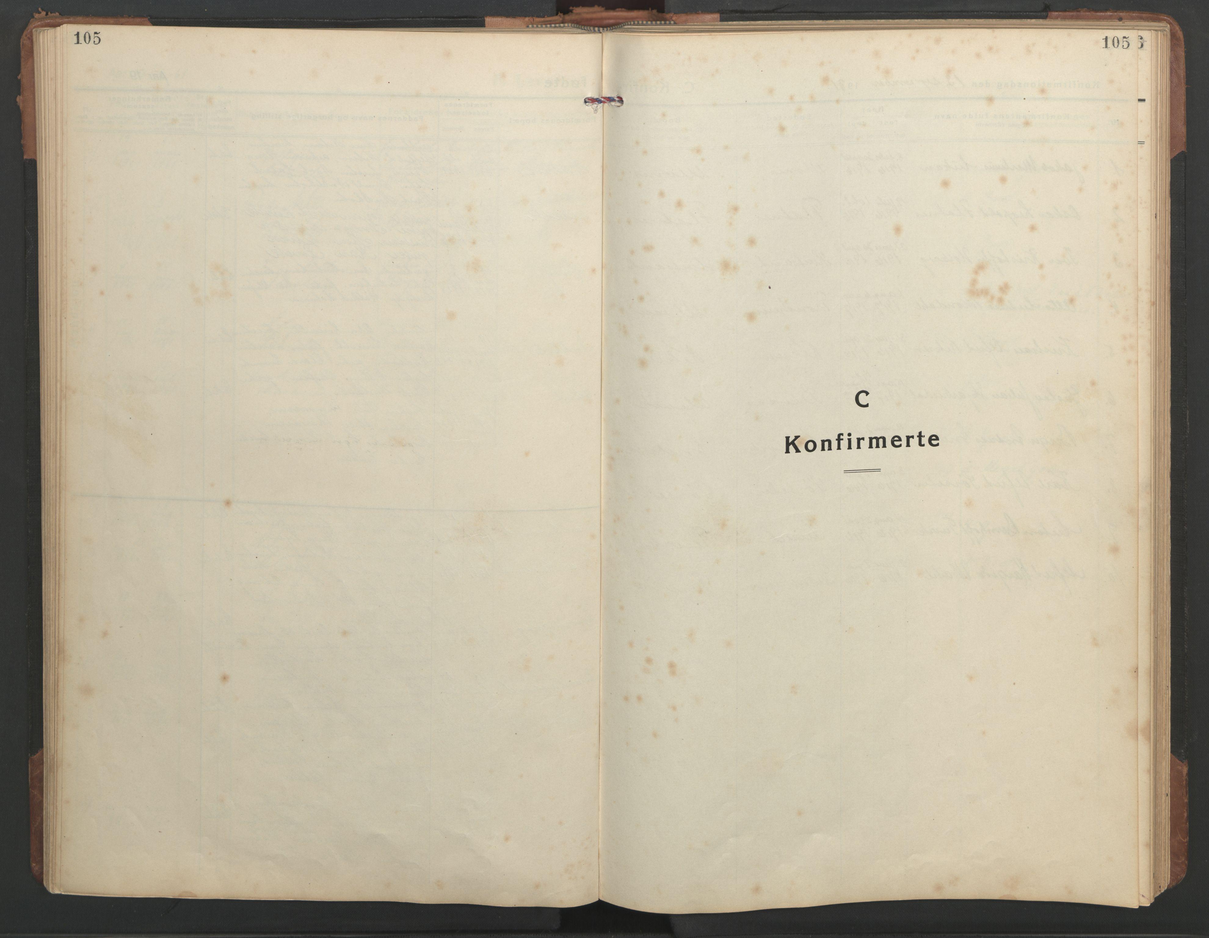 SAT, Ministerialprotokoller, klokkerbøker og fødselsregistre - Sør-Trøndelag, 638/L0569: Klokkerbok nr. 638C01, 1923-1961, s. 105