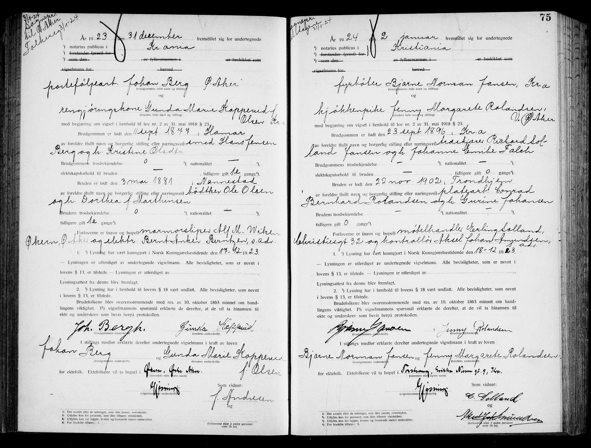SAO, Oslo byfogd avd. I, L/Lb/Lbb/L0016: Notarialprotokoll, rekke II: Vigsler, 1922-1924, s. 74b-75a