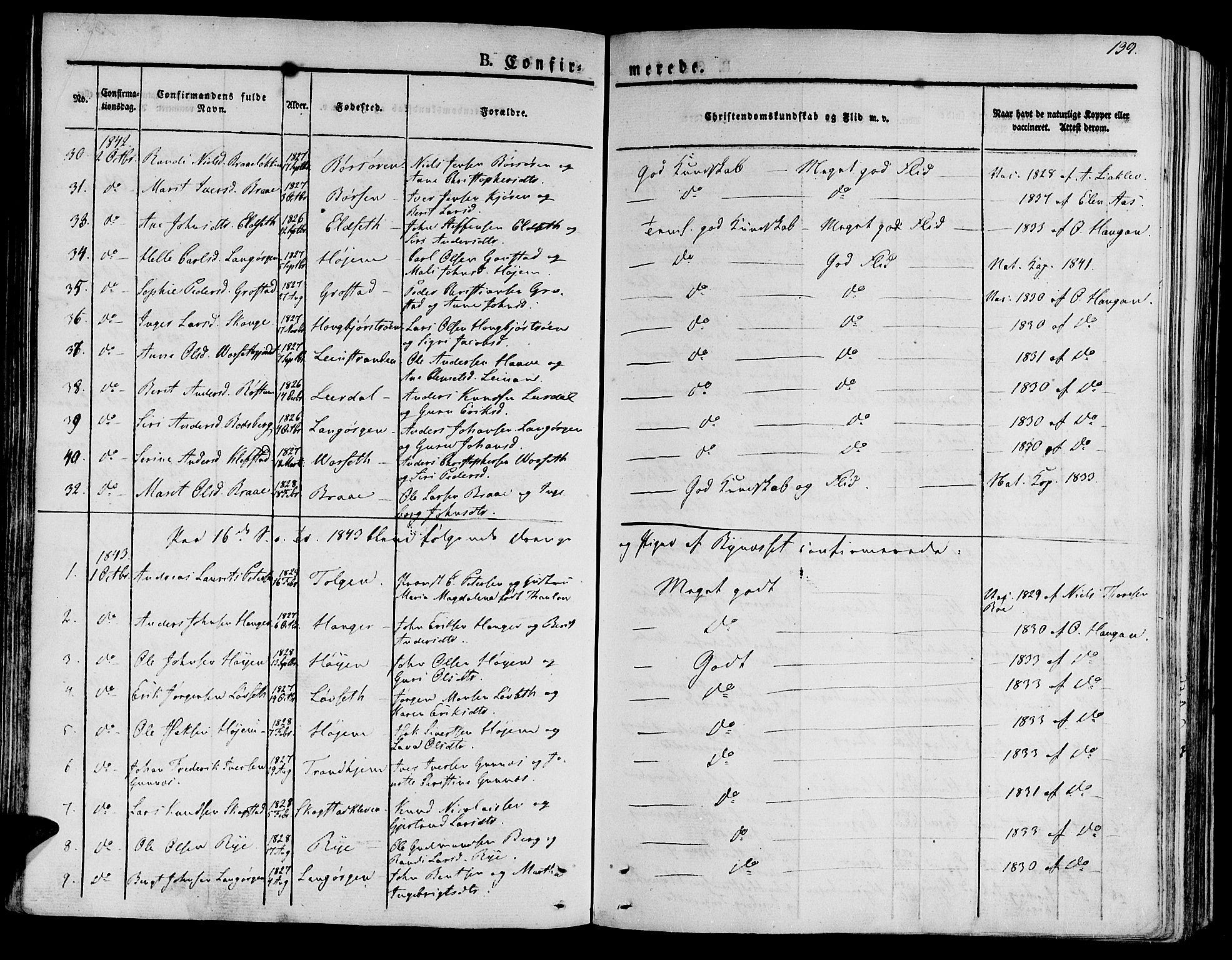 SAT, Ministerialprotokoller, klokkerbøker og fødselsregistre - Sør-Trøndelag, 612/L0374: Ministerialbok nr. 612A07 /1, 1829-1845, s. 139