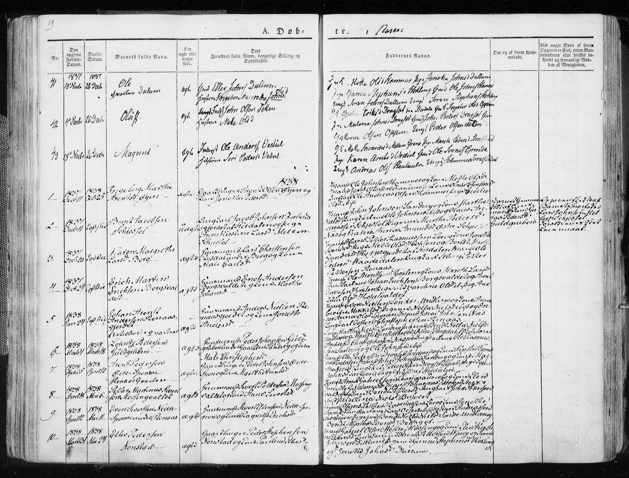 SAT, Ministerialprotokoller, klokkerbøker og fødselsregistre - Nord-Trøndelag, 713/L0114: Ministerialbok nr. 713A05, 1827-1839, s. 119