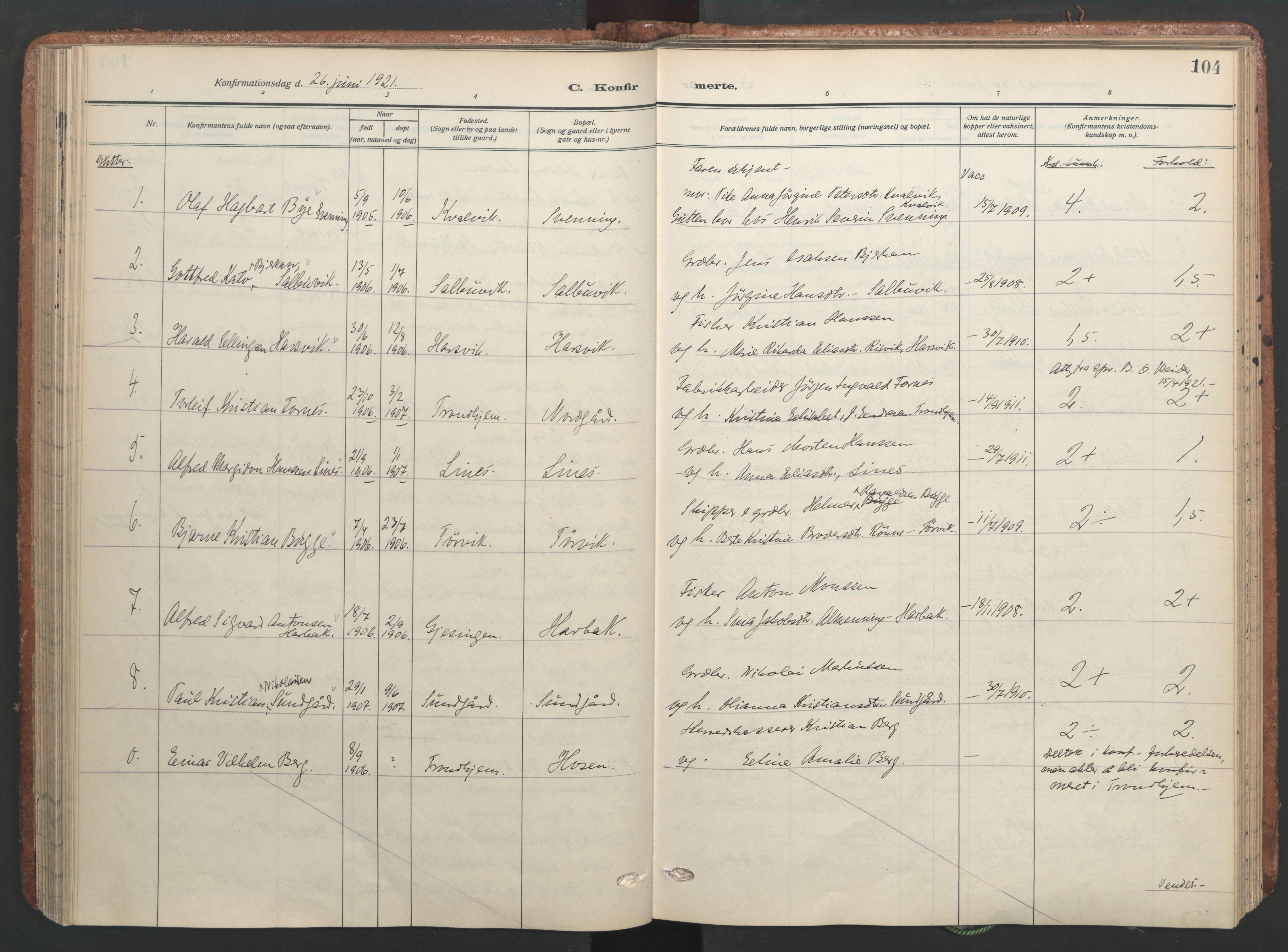 SAT, Ministerialprotokoller, klokkerbøker og fødselsregistre - Sør-Trøndelag, 656/L0694: Ministerialbok nr. 656A03, 1914-1931, s. 104