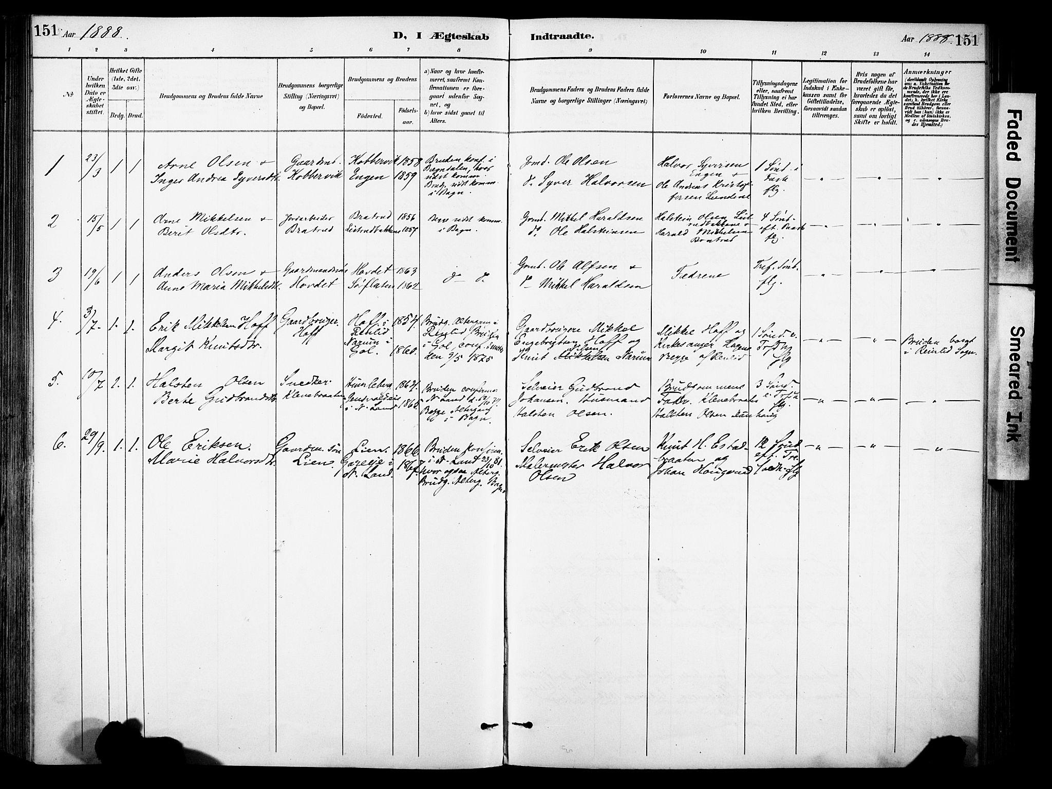 SAH, Sør-Aurdal prestekontor, Ministerialbok nr. 9, 1886-1906, s. 151