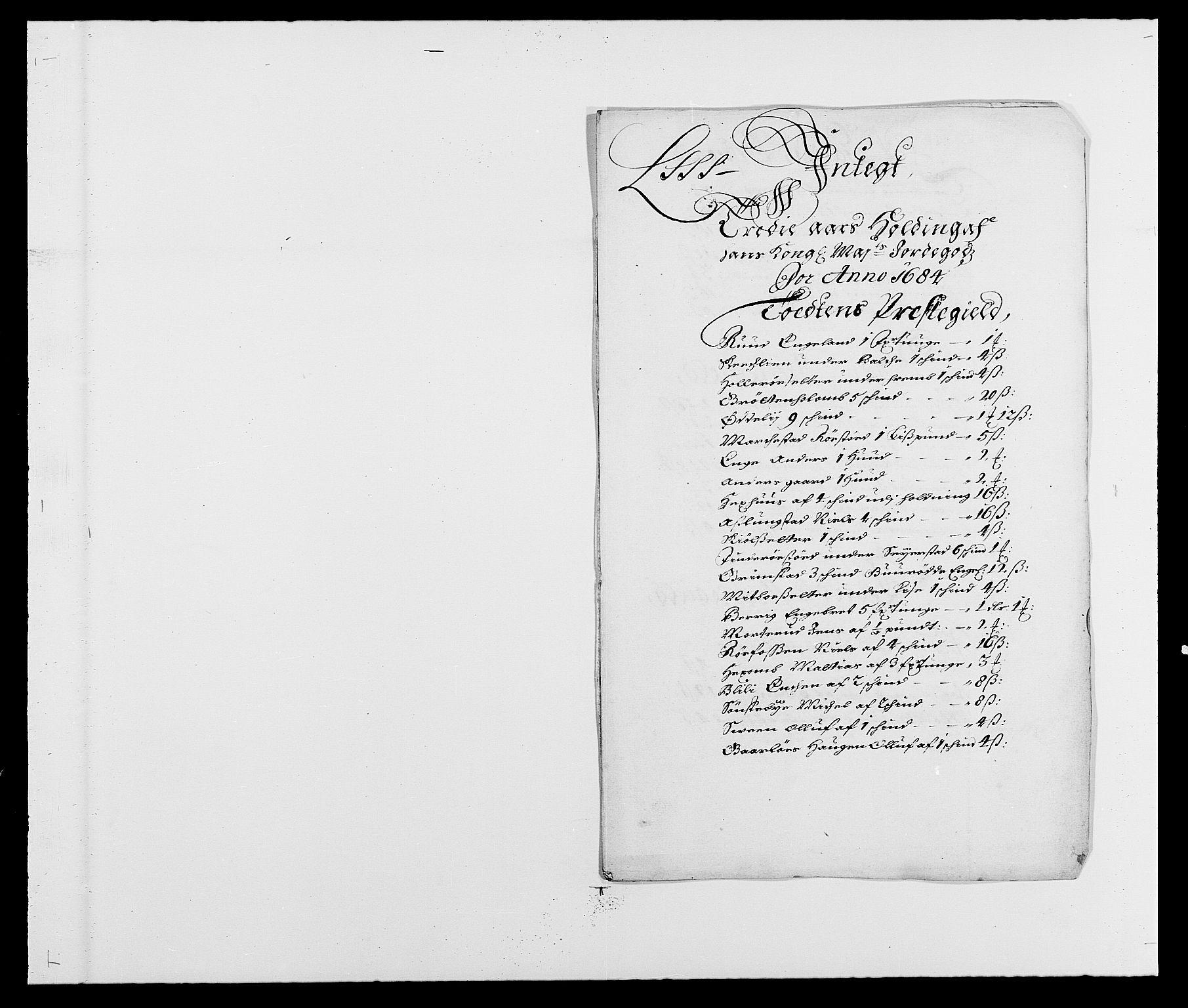 RA, Rentekammeret inntil 1814, Reviderte regnskaper, Fogderegnskap, R18/L1283: Fogderegnskap Hadeland, Toten og Valdres, 1684, s. 182