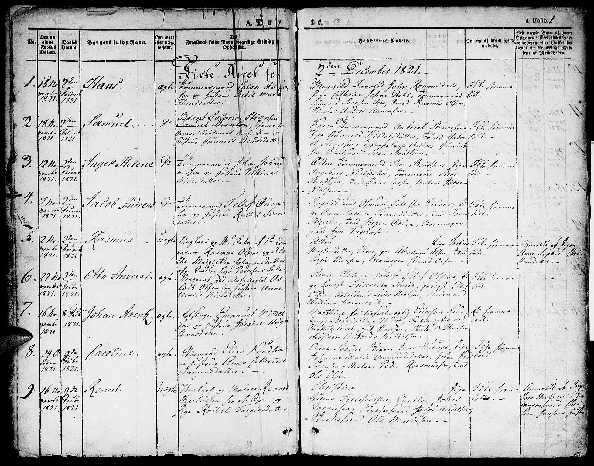 SAK, Kristiansand domprosti, F/Fa/L0009: Ministerialbok nr. A 9, 1821-1827, s. 1