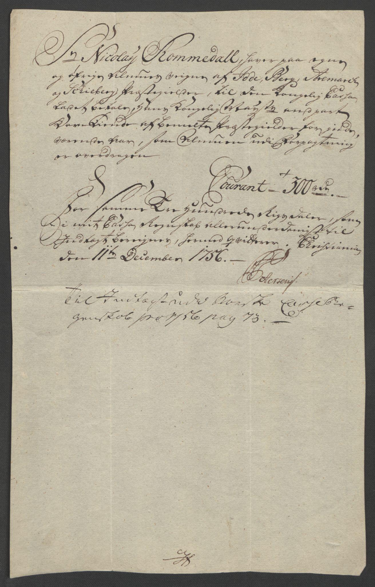 RA, Rentekammeret inntil 1814, Reviderte regnskaper, Fogderegnskap, R01/L0097: Ekstraskatten Idd og Marker, 1756-1767, s. 356