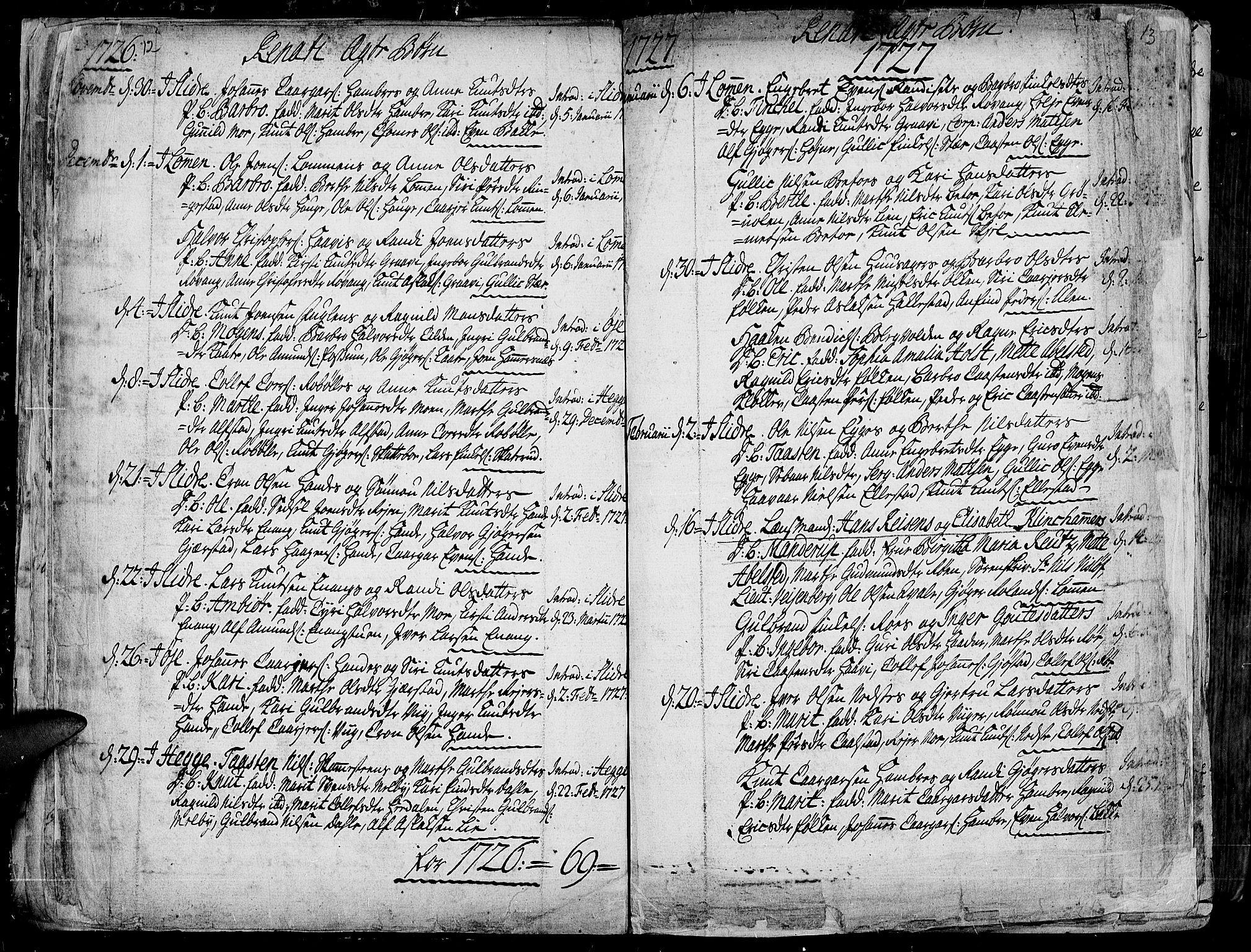 SAH, Slidre prestekontor, Ministerialbok nr. 1, 1724-1814, s. 12-13