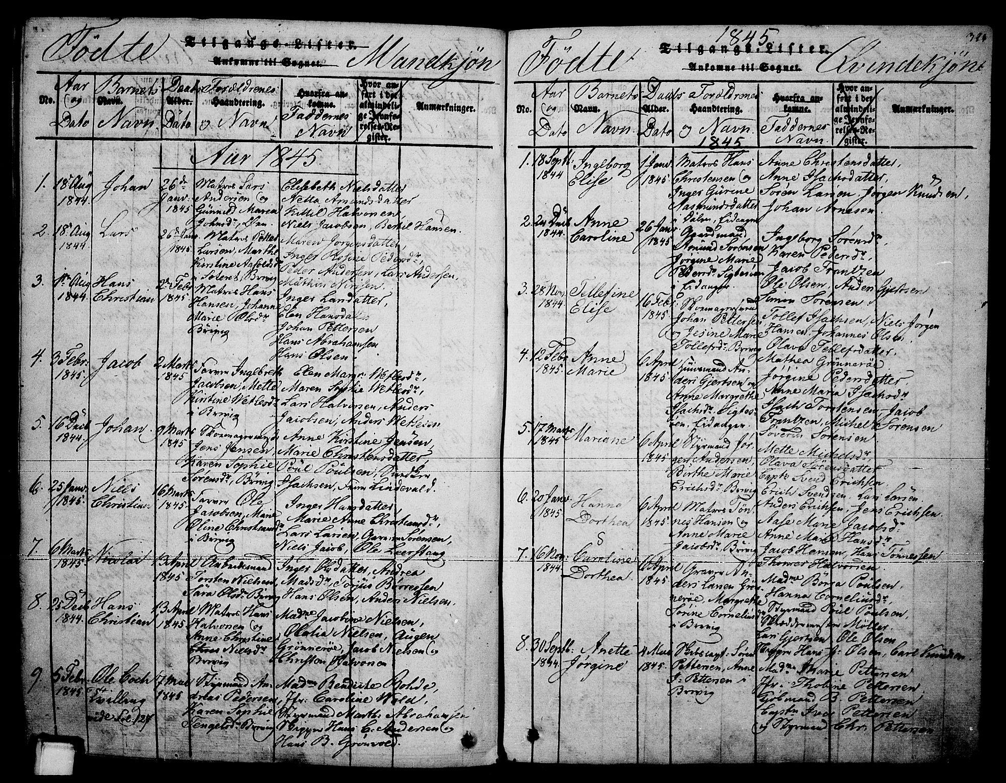 SAKO, Brevik kirkebøker, F/Fa/L0004: Ministerialbok nr. 4, 1814-1846, s. 321