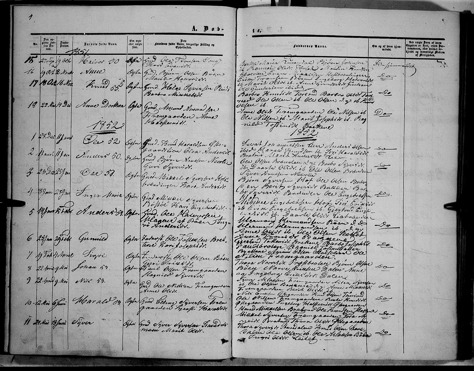 SAH, Sør-Aurdal prestekontor, Ministerialbok nr. 6, 1849-1876, s. 4