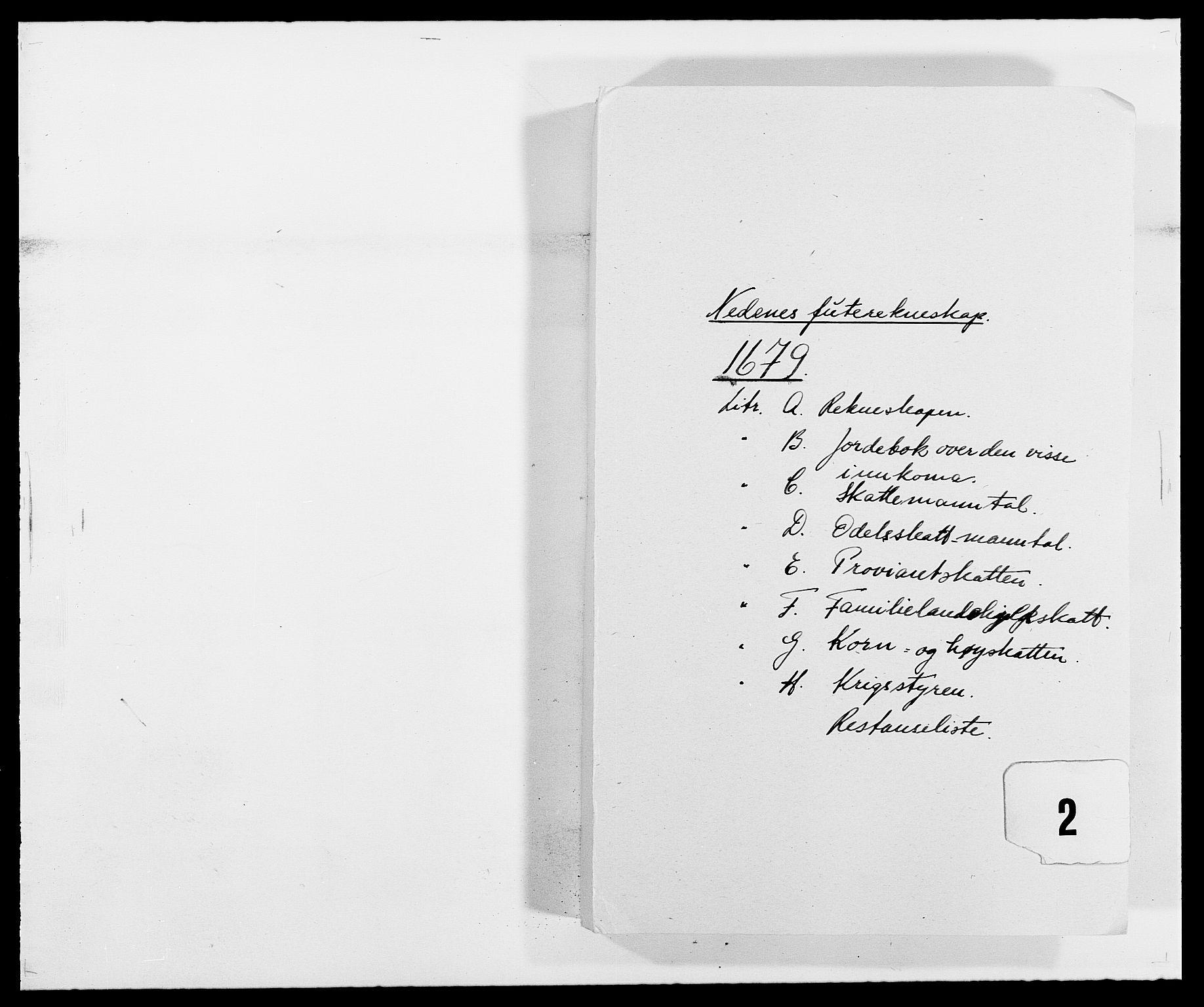 RA, Rentekammeret inntil 1814, Reviderte regnskaper, Fogderegnskap, R39/L2303: Fogderegnskap Nedenes, 1679, s. 1