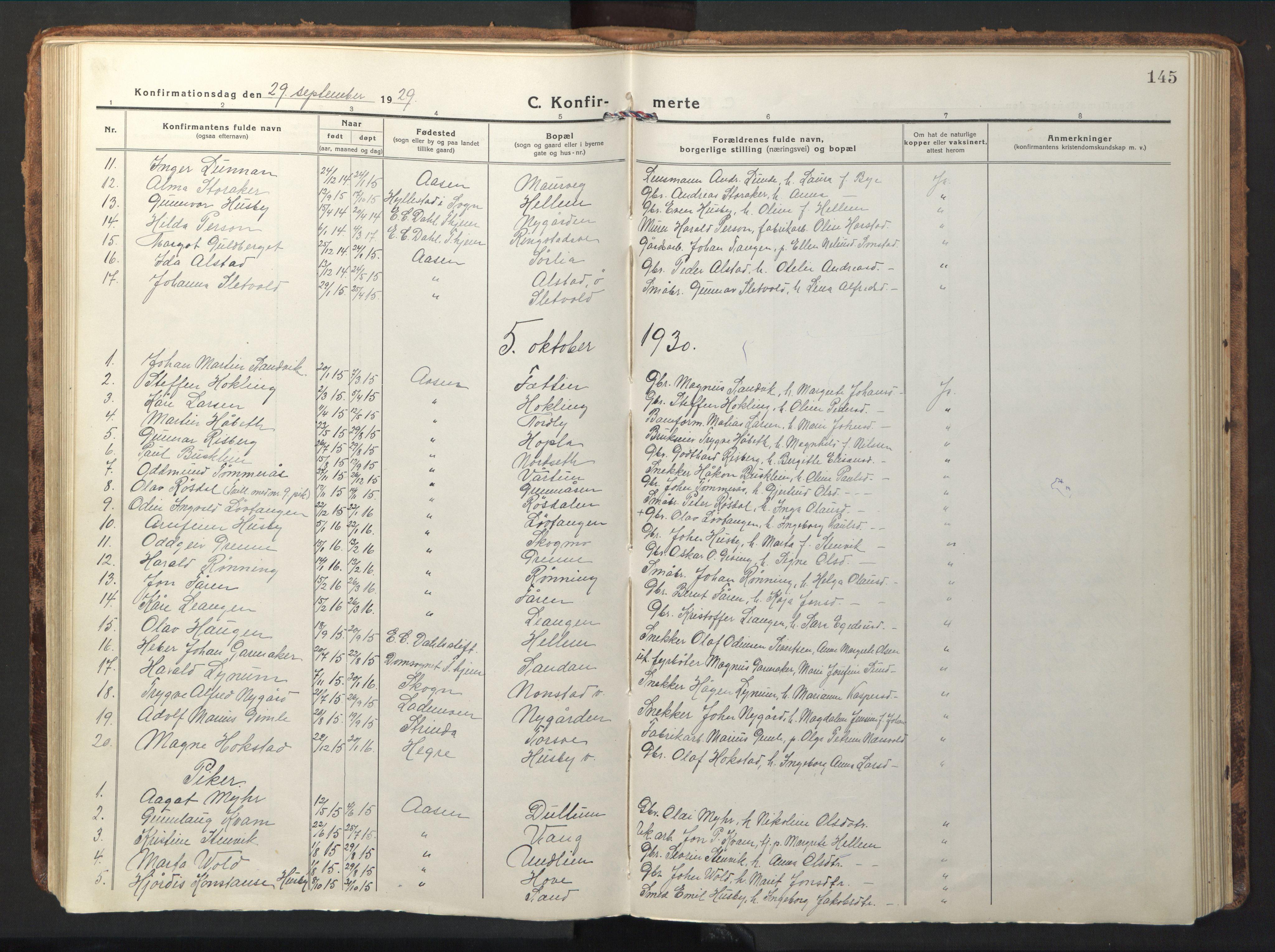 SAT, Ministerialprotokoller, klokkerbøker og fødselsregistre - Nord-Trøndelag, 714/L0136: Klokkerbok nr. 714C05, 1918-1957, s. 145