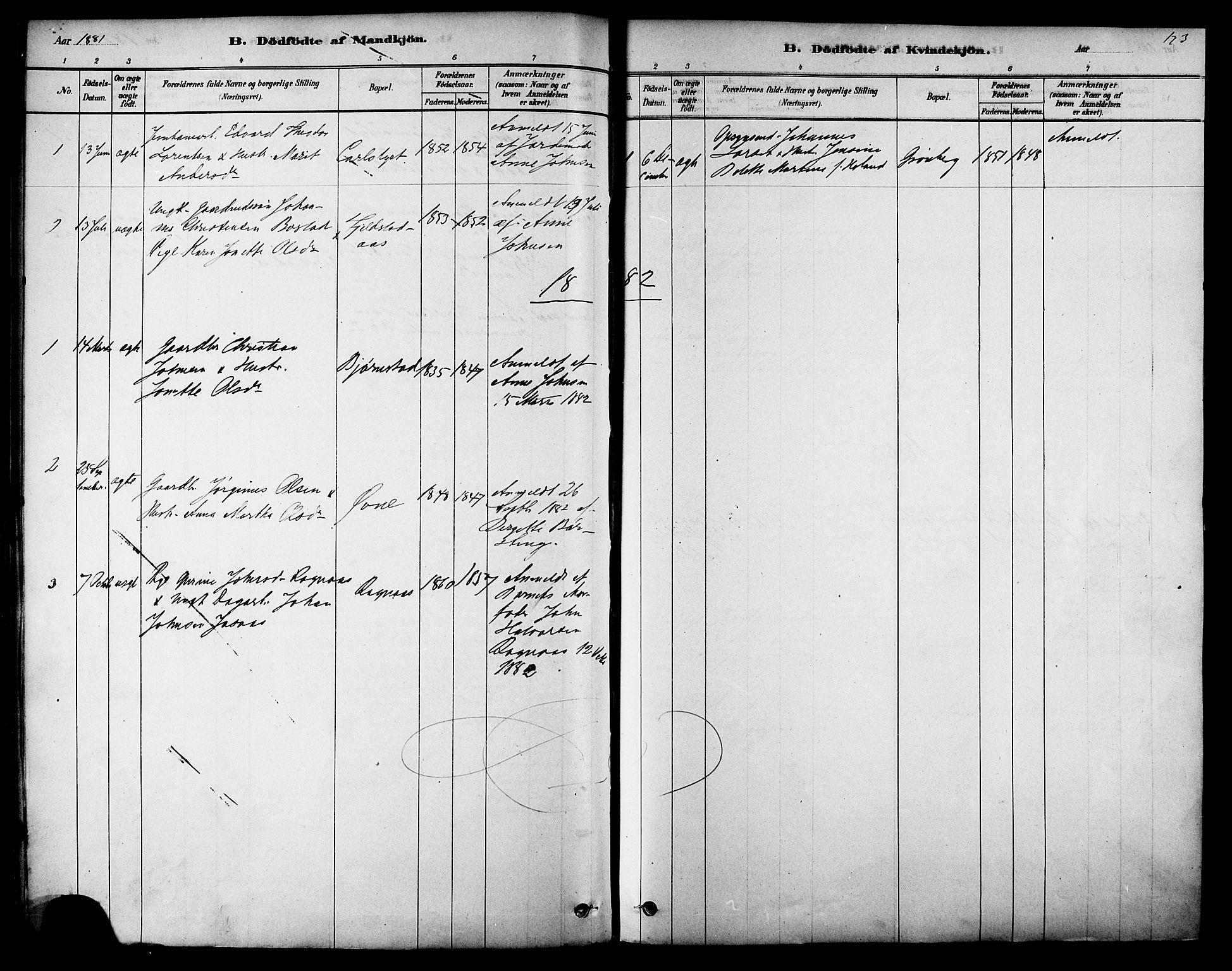 SAT, Ministerialprotokoller, klokkerbøker og fødselsregistre - Sør-Trøndelag, 616/L0410: Ministerialbok nr. 616A07, 1878-1893, s. 123