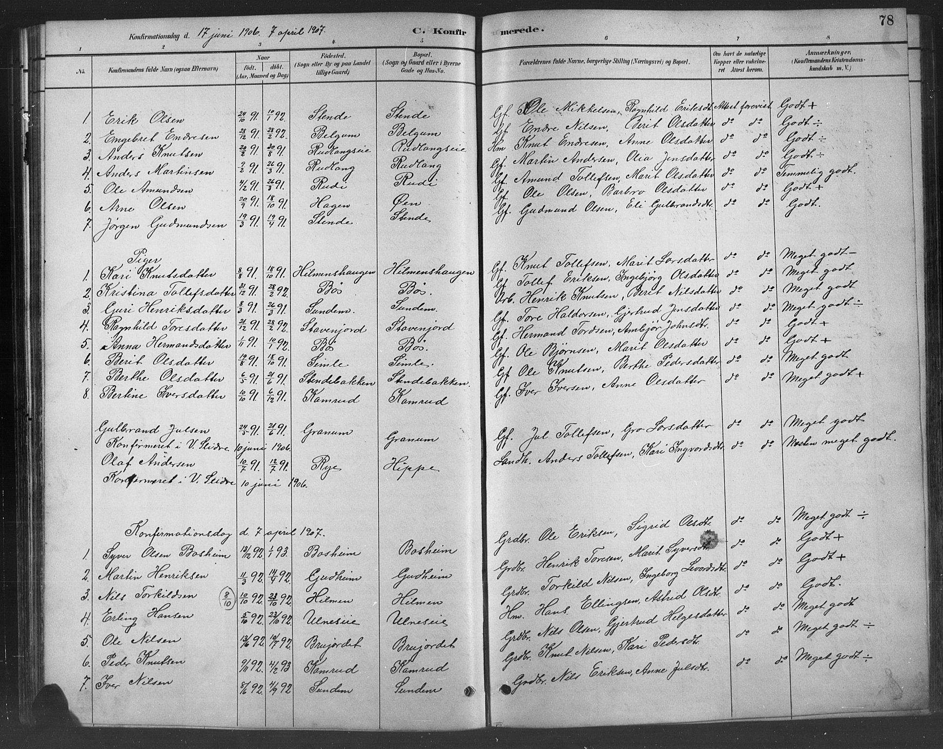 SAH, Nord-Aurdal prestekontor, Klokkerbok nr. 8, 1883-1916, s. 78