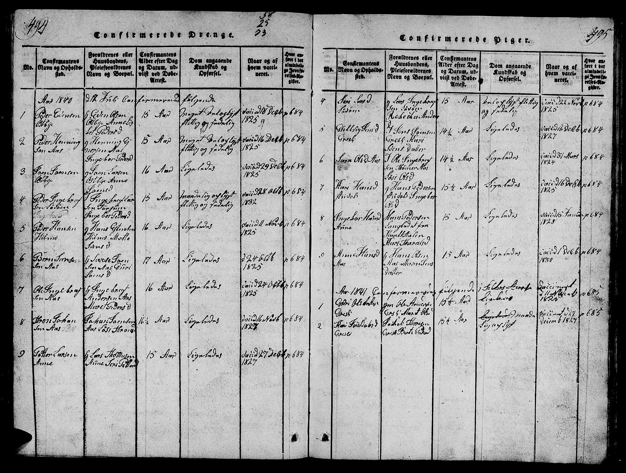 SAT, Ministerialprotokoller, klokkerbøker og fødselsregistre - Sør-Trøndelag, 698/L1164: Klokkerbok nr. 698C01, 1816-1861, s. 494-495
