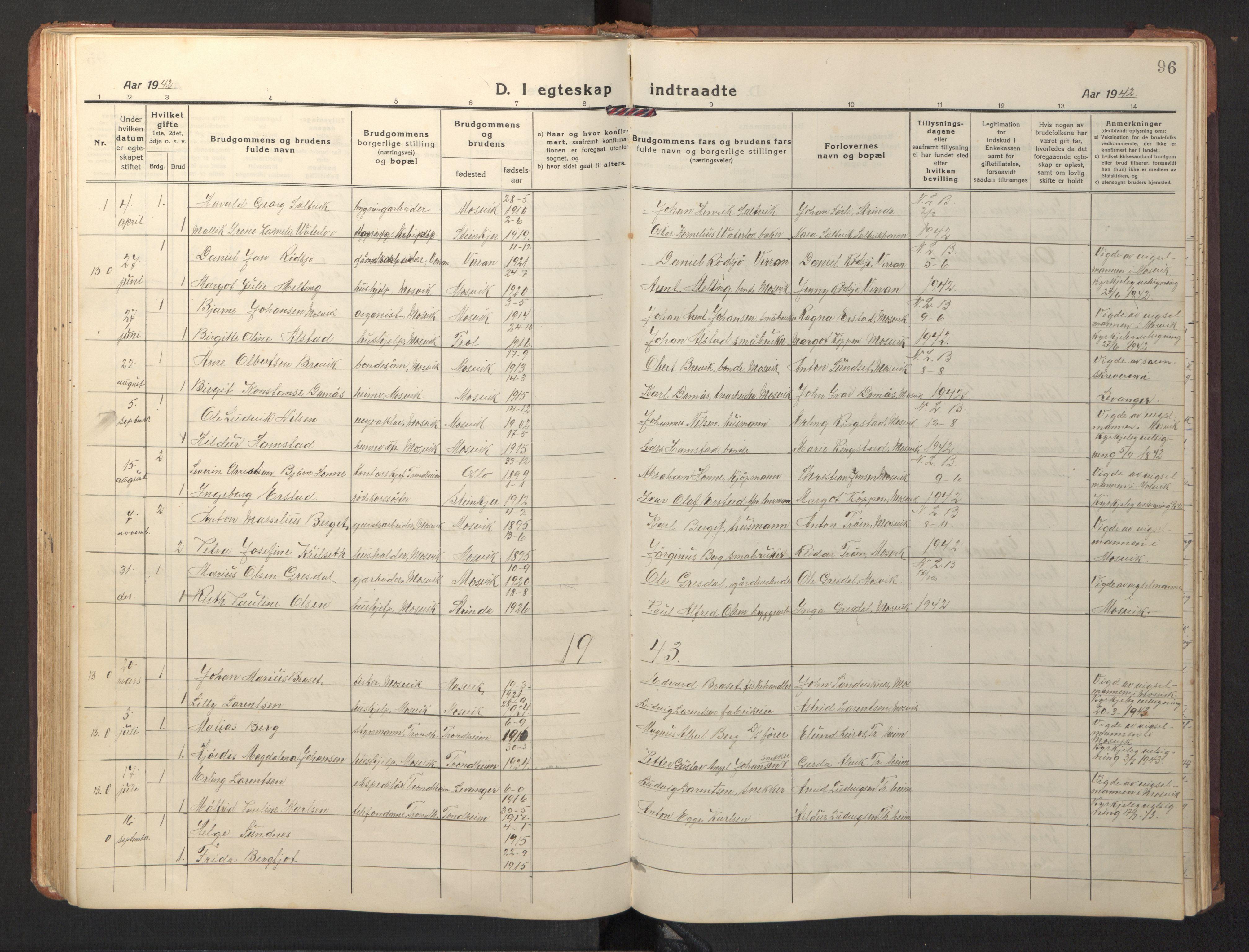 SAT, Ministerialprotokoller, klokkerbøker og fødselsregistre - Nord-Trøndelag, 733/L0328: Klokkerbok nr. 733C03, 1919-1966, s. 96