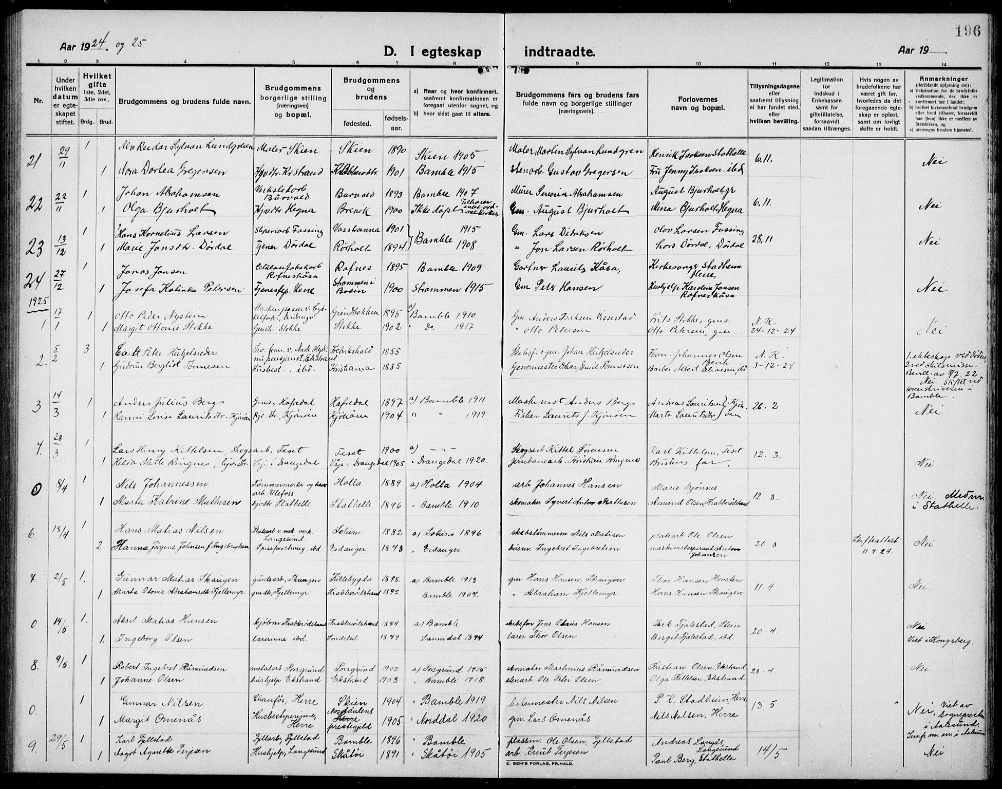 SAKO, Bamble kirkebøker, G/Ga/L0011: Klokkerbok nr. I 11, 1920-1935, s. 196
