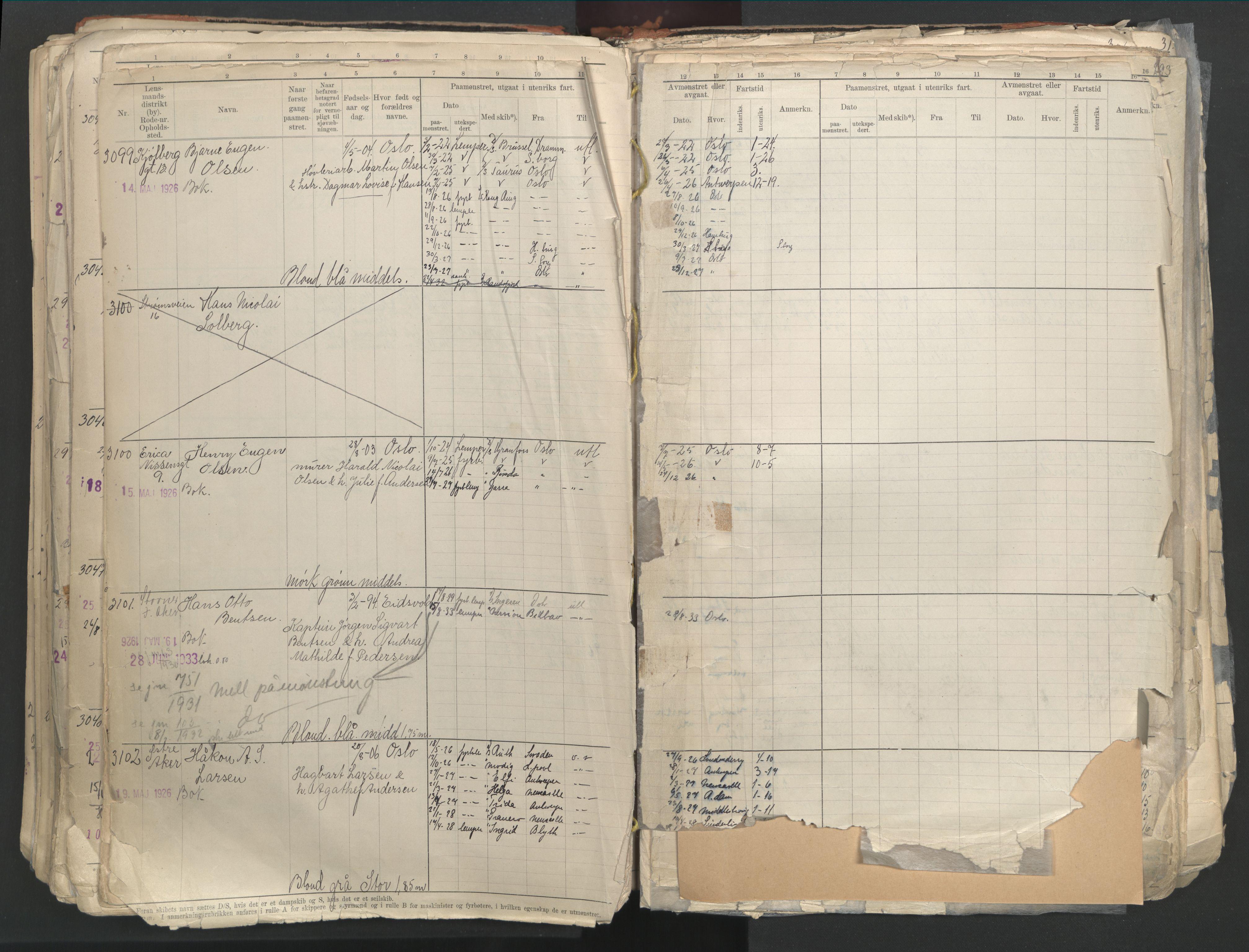 SAO, Oslo sjømannskontor, F/Fd/L0003: B-rulle, 1916, s. 291b-292a