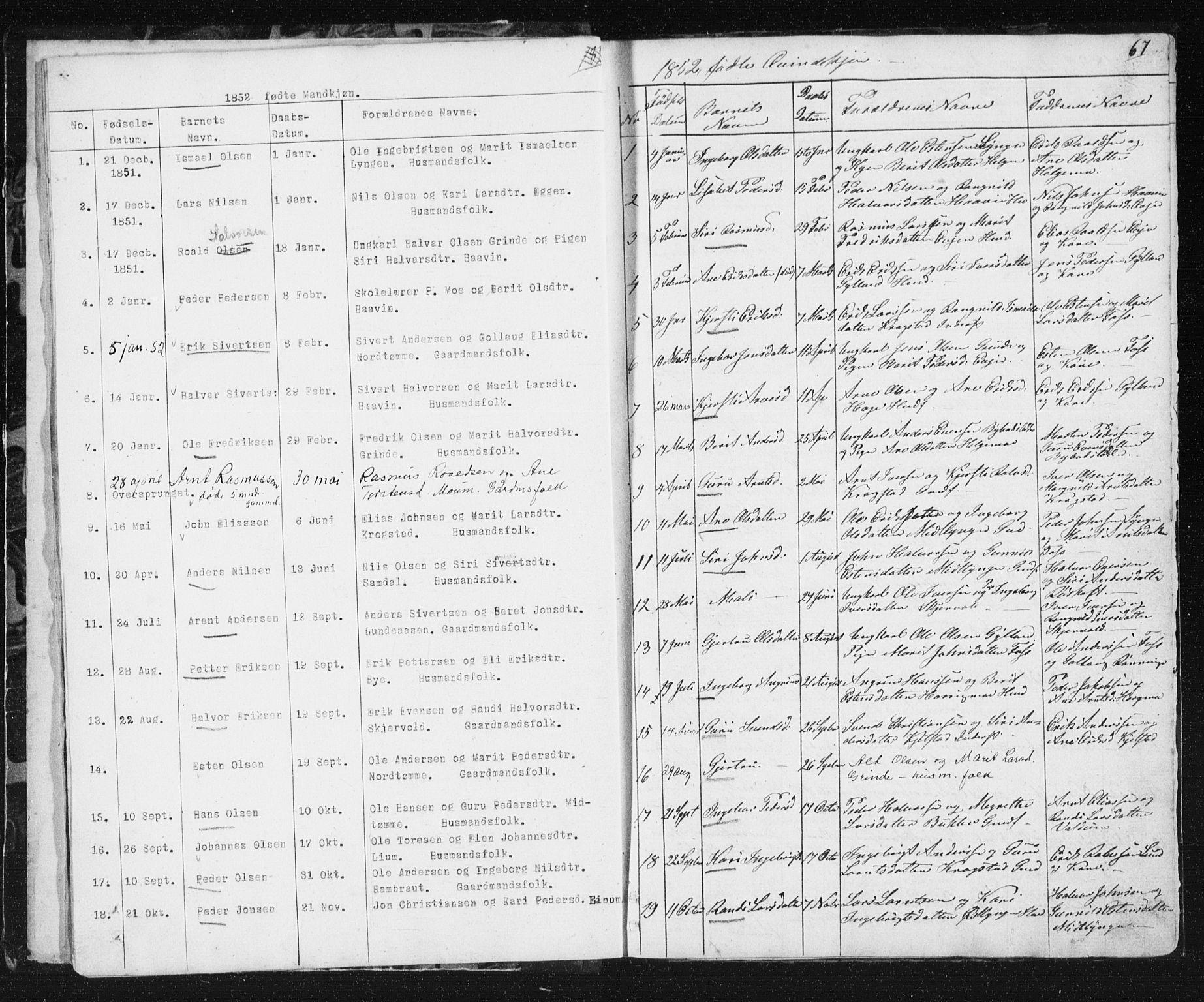 SAT, Ministerialprotokoller, klokkerbøker og fødselsregistre - Sør-Trøndelag, 692/L1110: Klokkerbok nr. 692C05, 1849-1889, s. 67