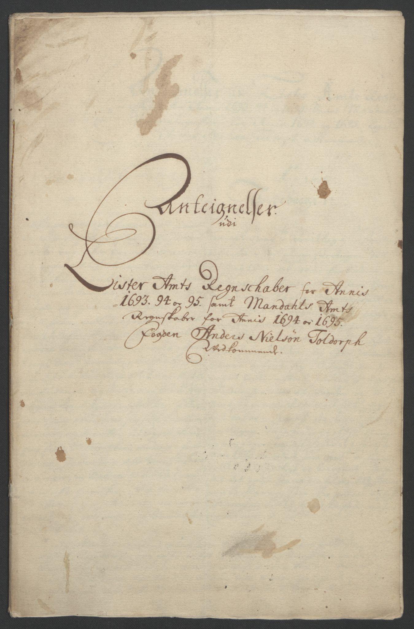 RA, Rentekammeret inntil 1814, Reviderte regnskaper, Fogderegnskap, R43/L2545: Fogderegnskap Lista og Mandal, 1694-1695, s. 374