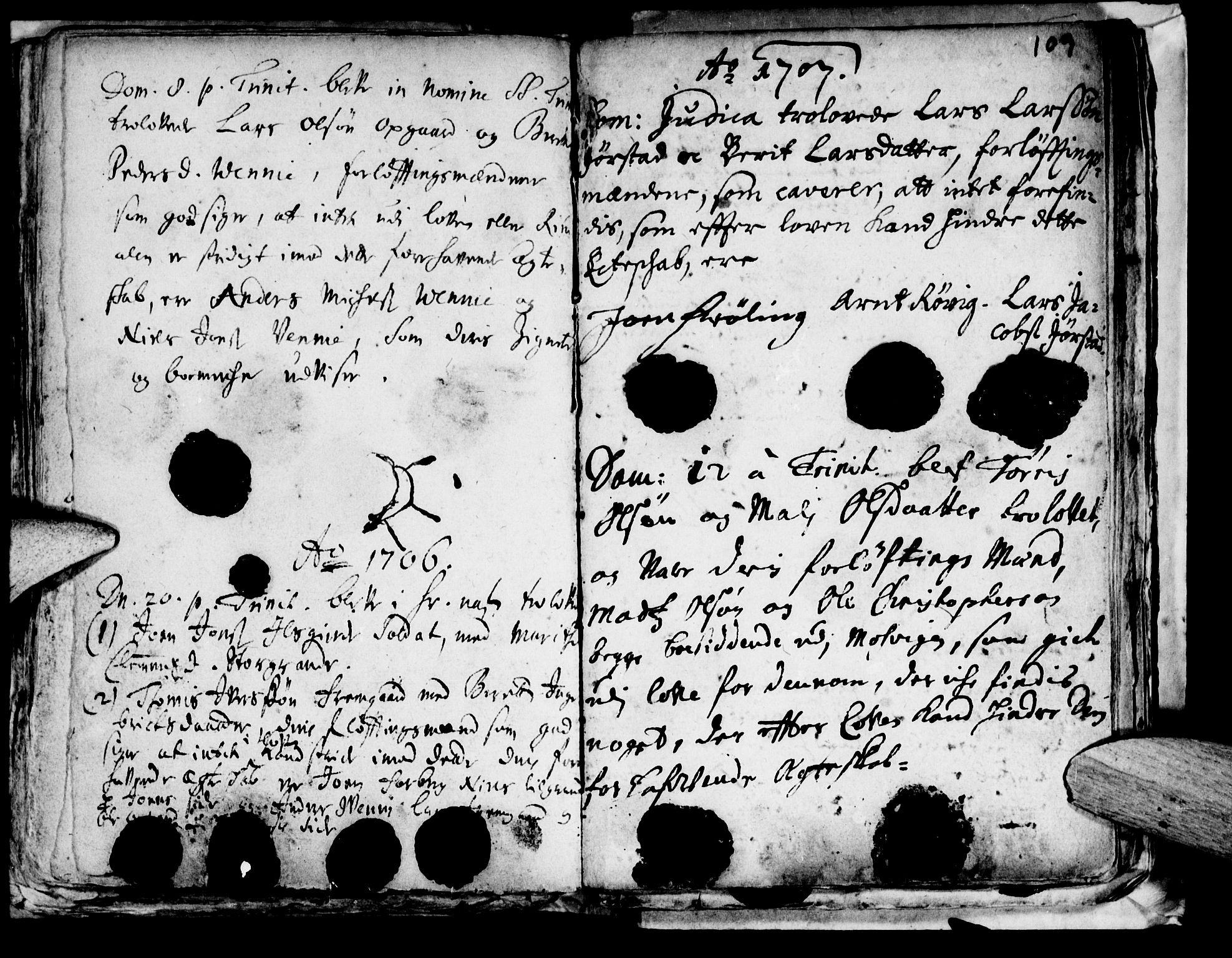 SAT, Ministerialprotokoller, klokkerbøker og fødselsregistre - Nord-Trøndelag, 722/L0214: Ministerialbok nr. 722A01, 1692-1718, s. 109