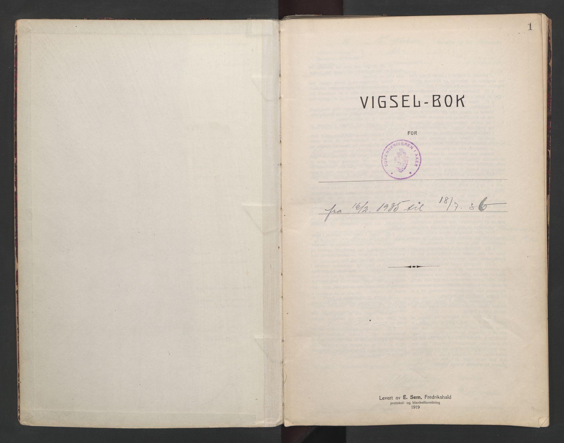 SAO, Aker sorenskriveri, L/Lc/Lcb/L0008: Vigselprotokoll, 1935-1936, s. 1