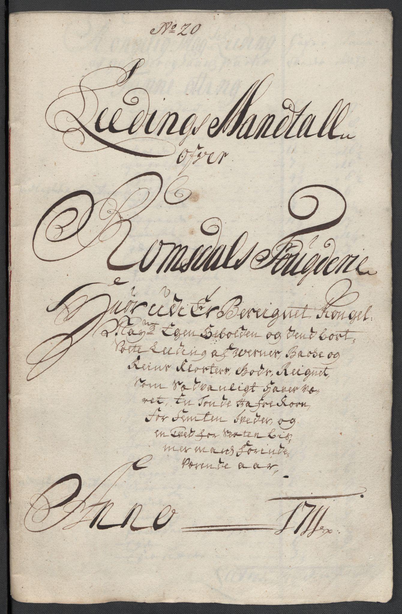 RA, Rentekammeret inntil 1814, Reviderte regnskaper, Fogderegnskap, R55/L3660: Fogderegnskap Romsdal, 1711, s. 358