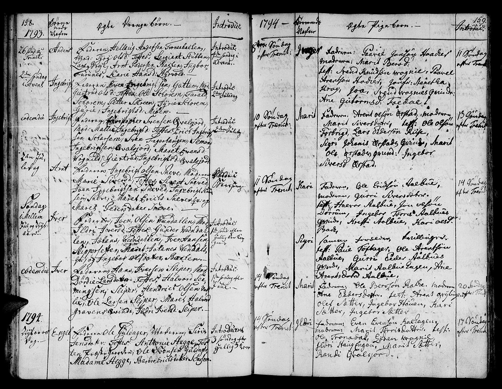 SAT, Ministerialprotokoller, klokkerbøker og fødselsregistre - Sør-Trøndelag, 678/L0893: Ministerialbok nr. 678A03, 1792-1805, s. 158-159
